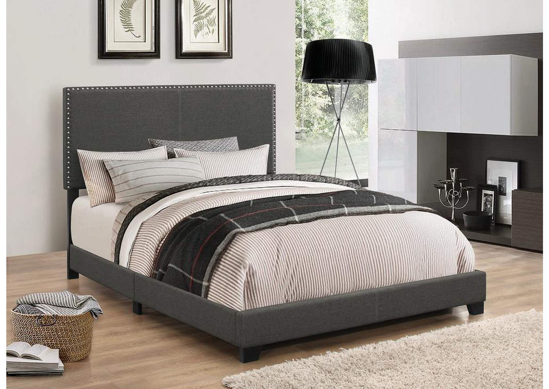 Charcoal Upholstered Queen Bed,Coaster Furniture