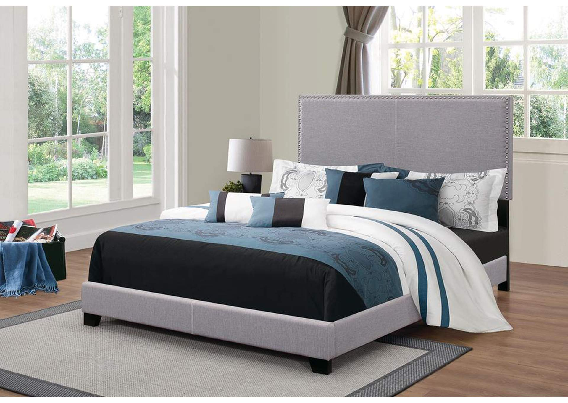 Grey Upholstered Queen Bed,Coaster Furniture