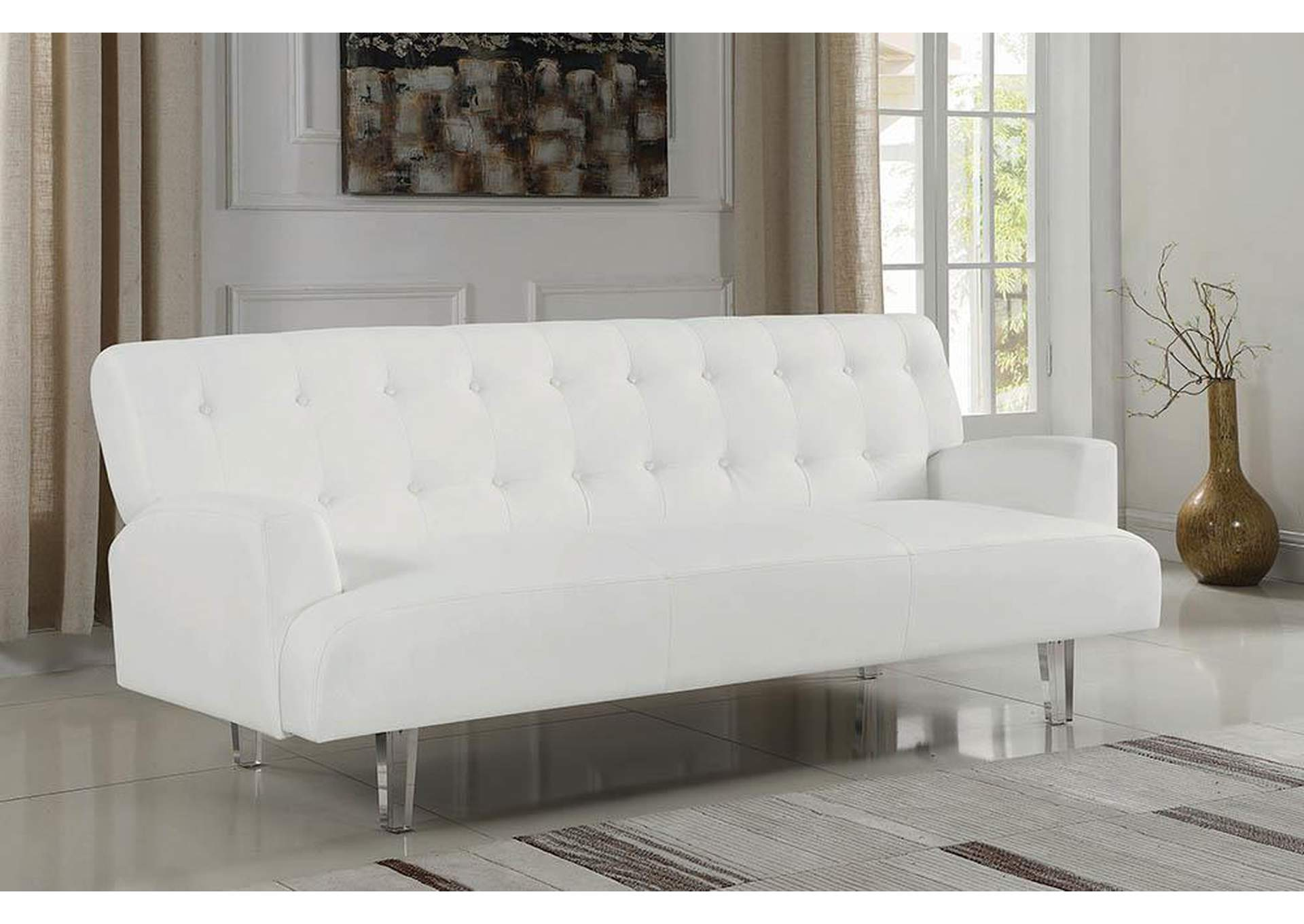 Exceptional White Faux Leather Sofa Bed,Coaster Furniture