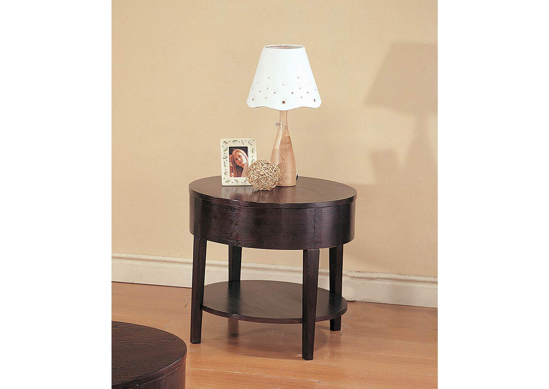 Gough Cappuccino Round End Table,Coaster Furniture