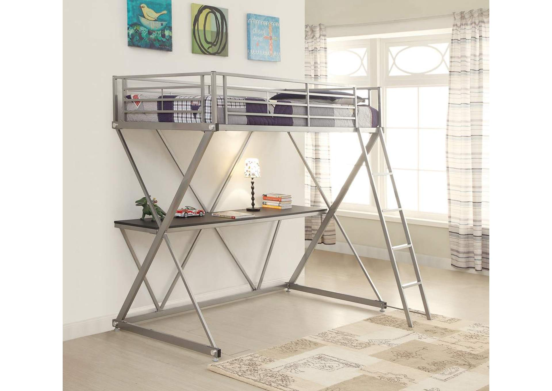 Silver Twin Loft Bed,Coaster Furniture