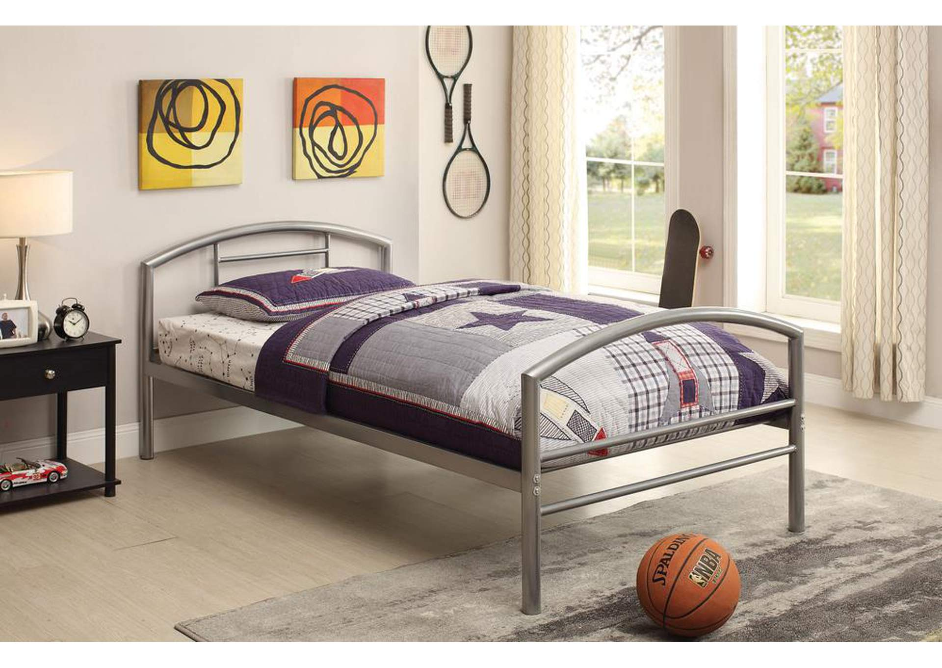 Baines Silver Twin Bed,Coaster Furniture