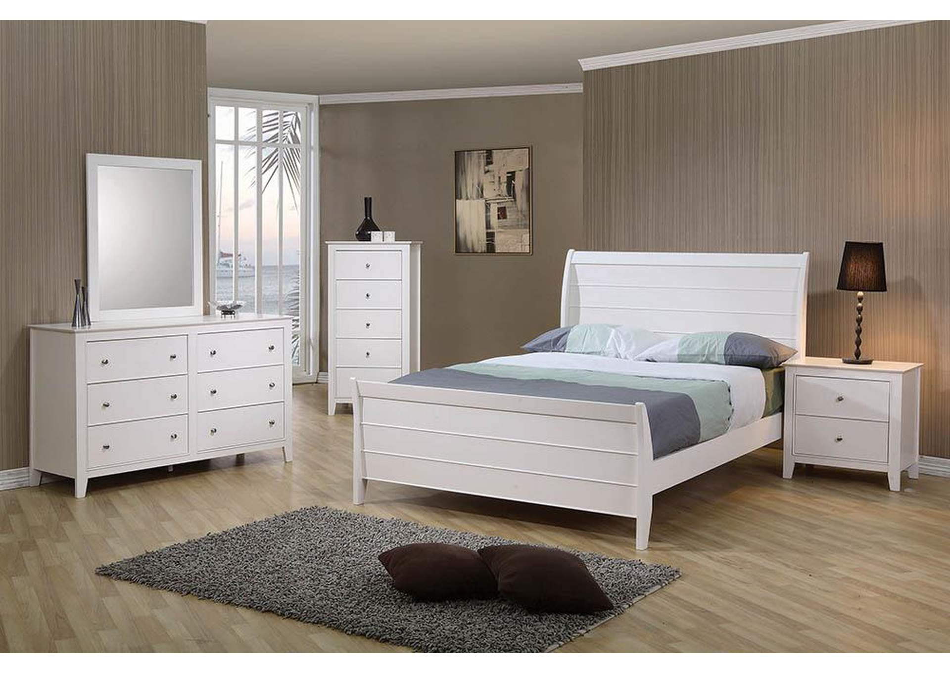 Selena White Twin Sleigh Bed,Coaster Furniture