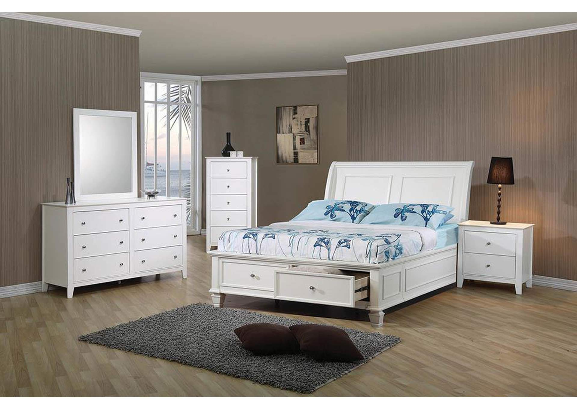 Selena White Full Storage Bed,Coaster Furniture