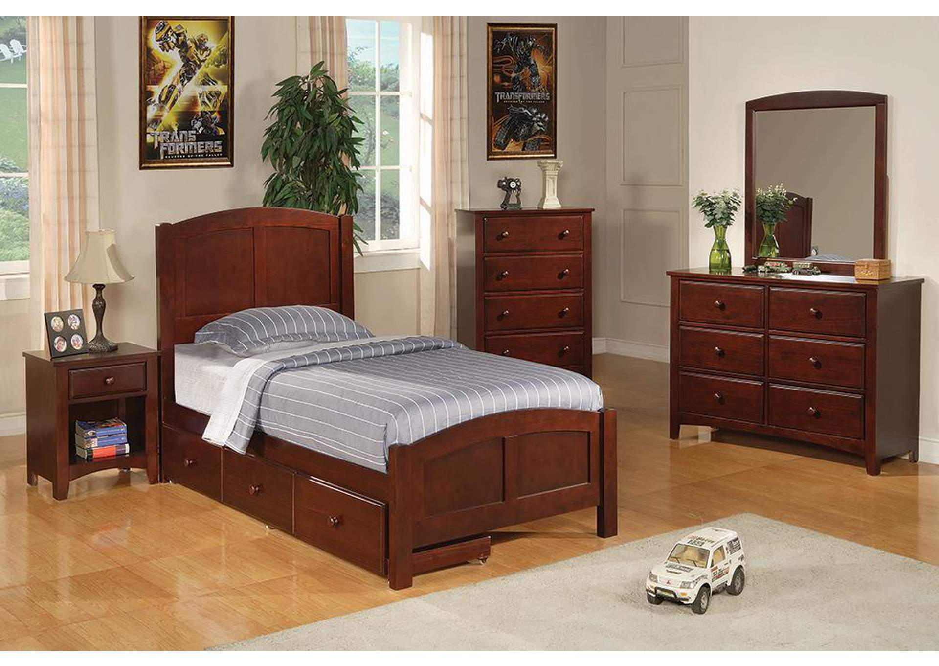 Parker Cappuccino Twin Panel Bed,Coaster Furniture