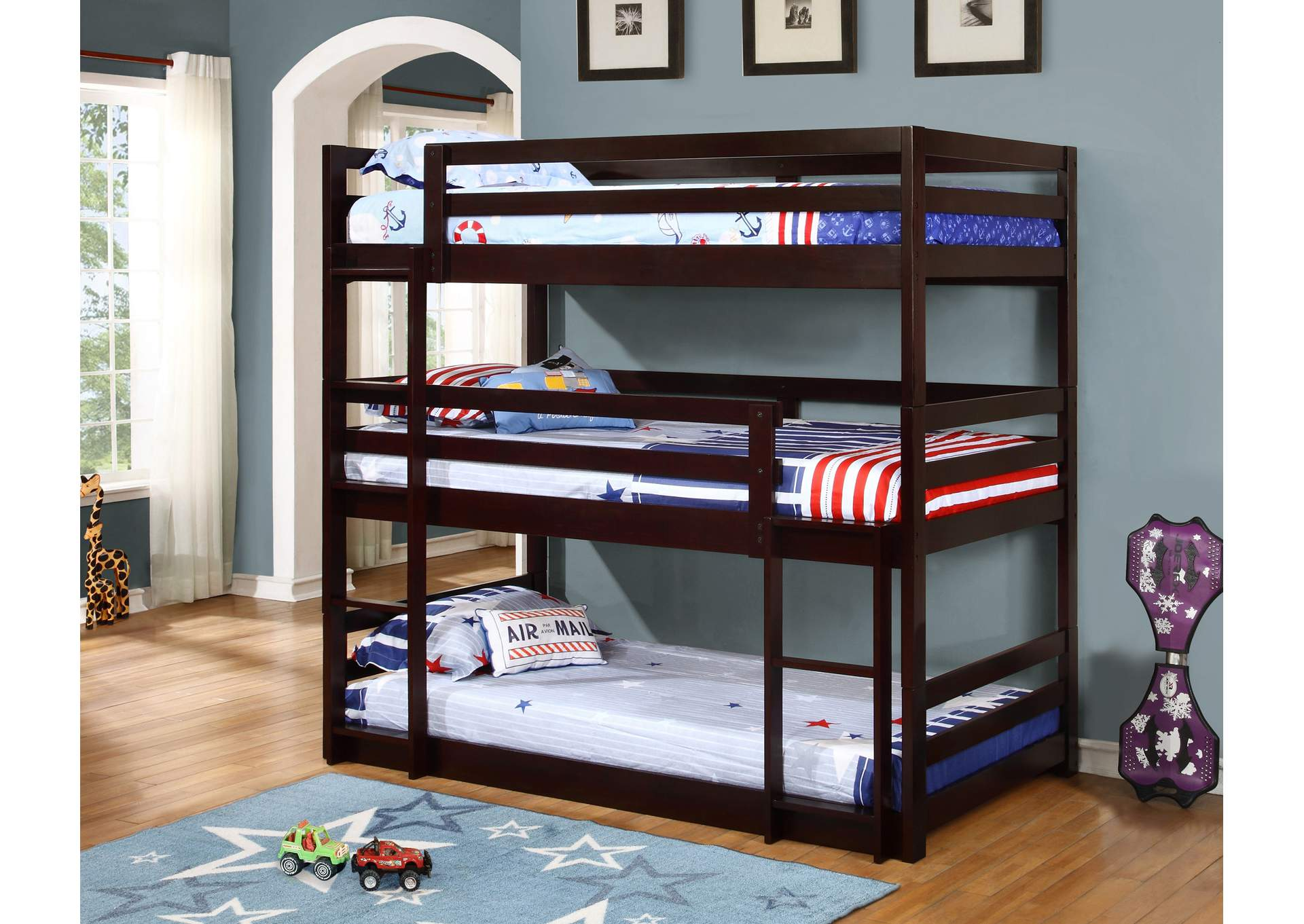 Cappuccino Triple Twin Bunk Bed,Coaster Furniture