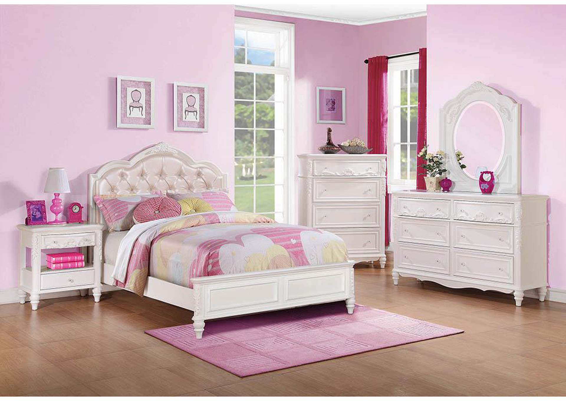 Caroline White Twin Bed,Coaster Furniture
