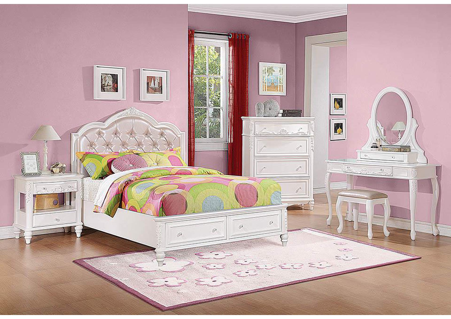 Caroline White Twin Storage Bed,Coaster Furniture