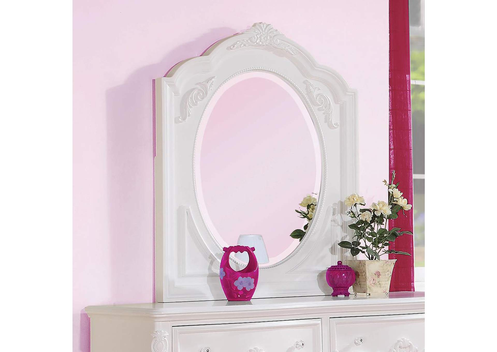 Caroline White Mirror,Coaster Furniture