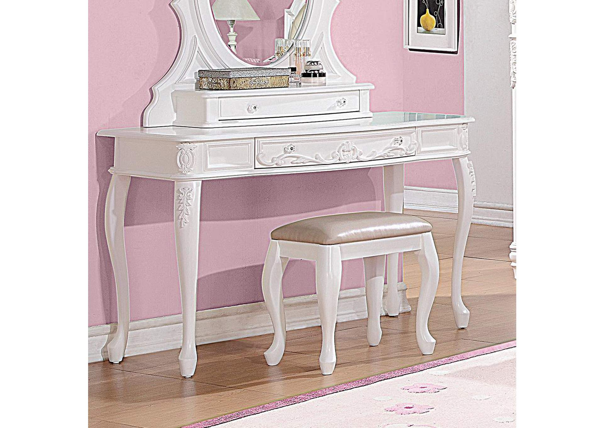 Caroline White Vanity Desk,Coaster Furniture
