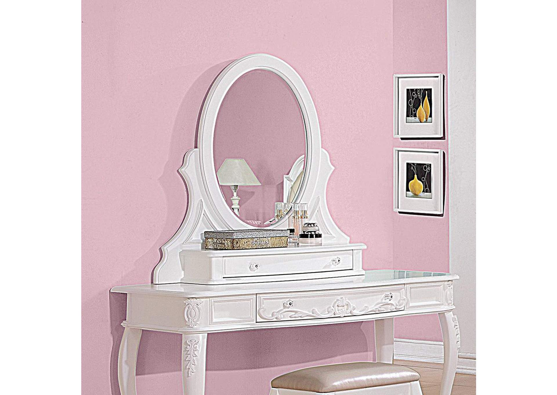 Caroline White Vanity Mirror,Coaster Furniture