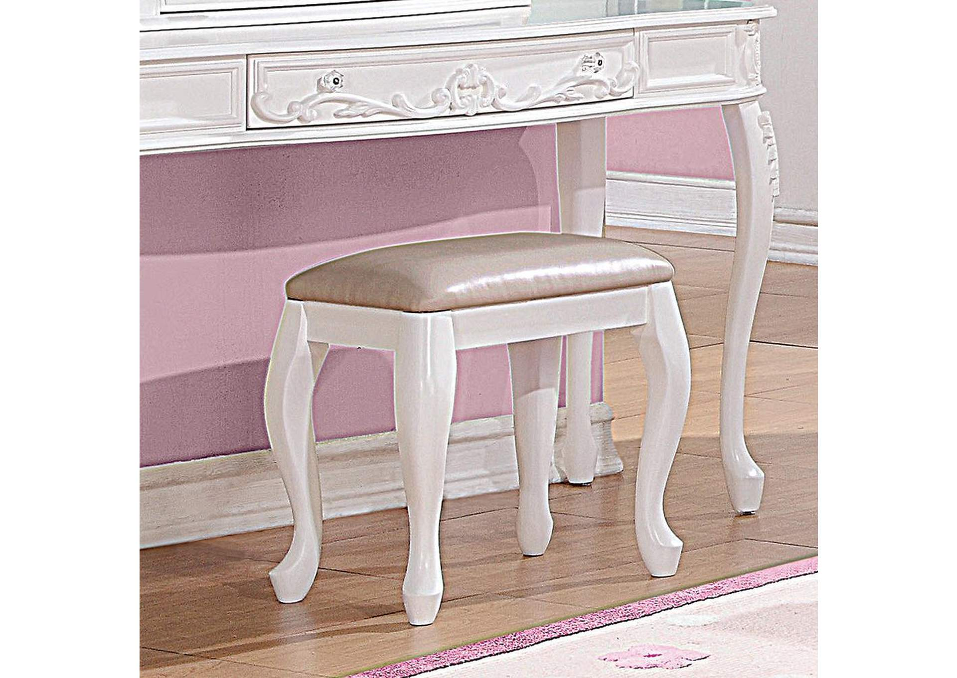 Caroline White Stool,Coaster Furniture