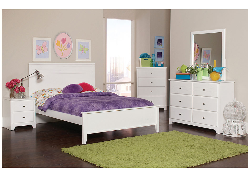 White Full Bed w/Dresser & Mirror,Coaster Furniture
