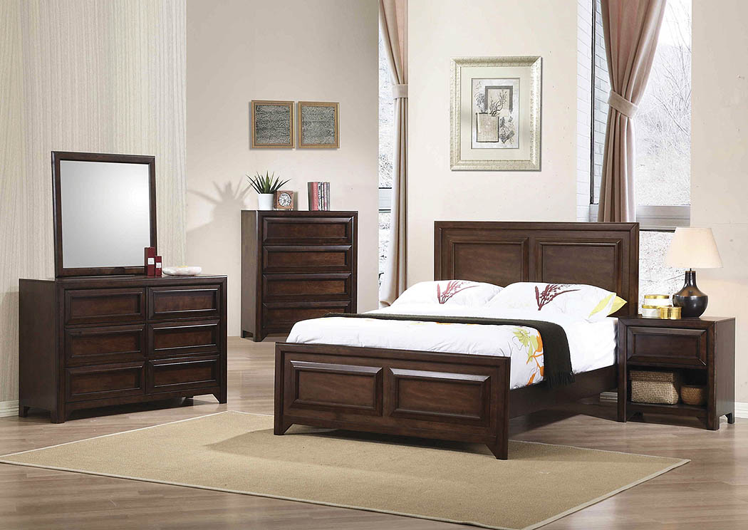 Maple Oak Full Panel Bed w/Dresser & Mirror,Coaster Furniture