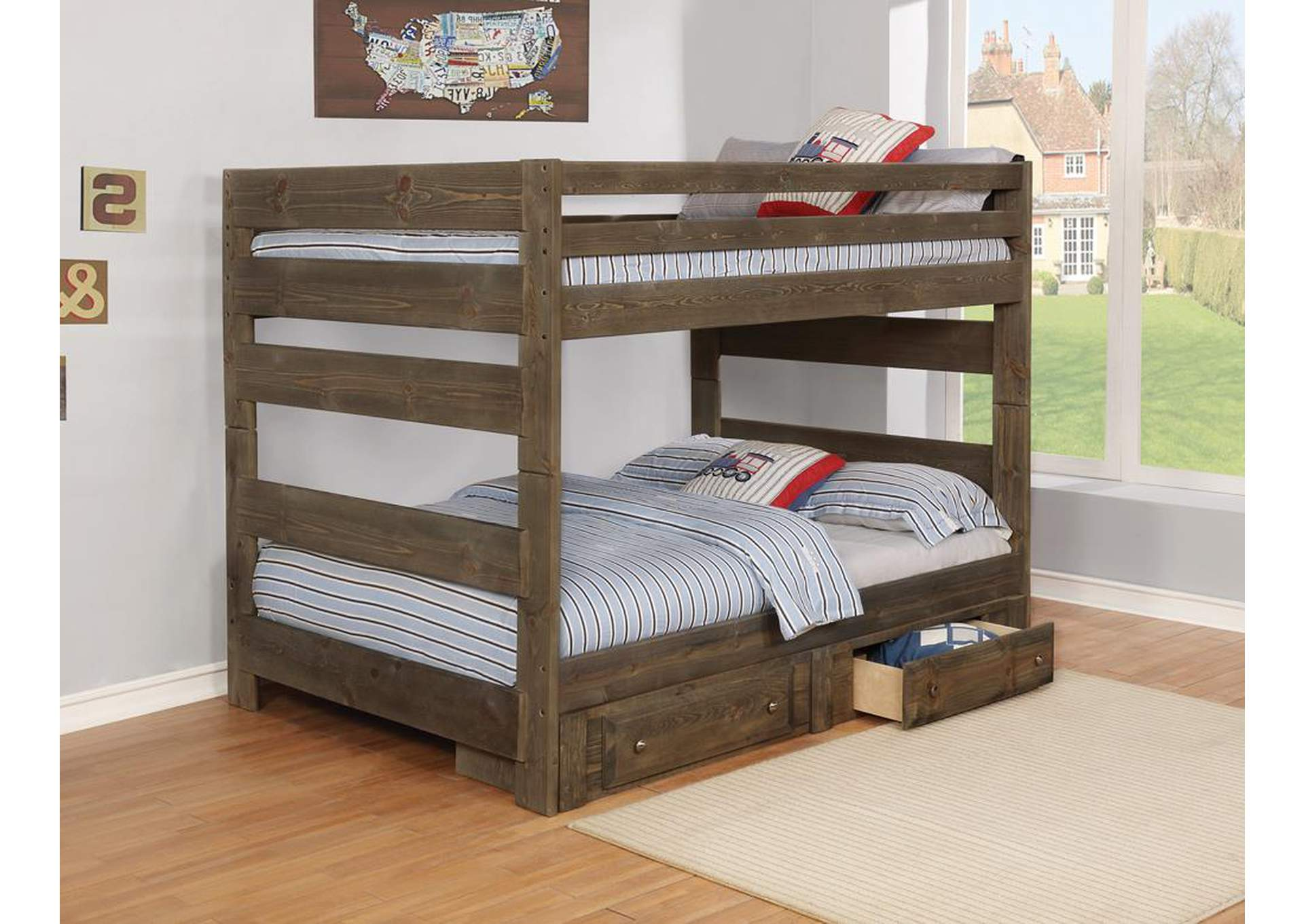 Full/Full Grey Bunk Bed (Storage Not Included),Coaster Furniture