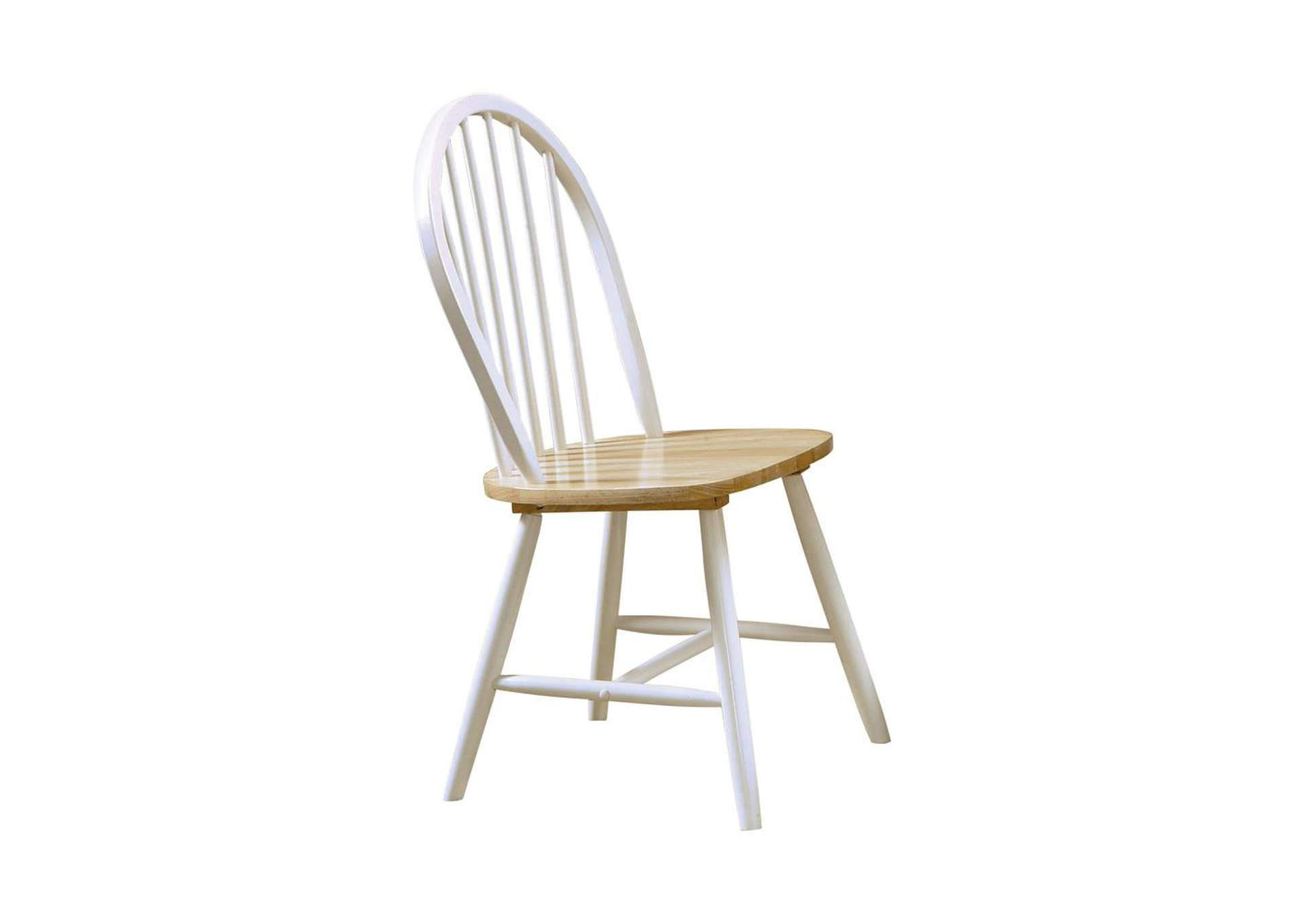 Natural/ White Country Two-Tone Natural Wood Side Dining Chair [Set of 4],Coaster Furniture