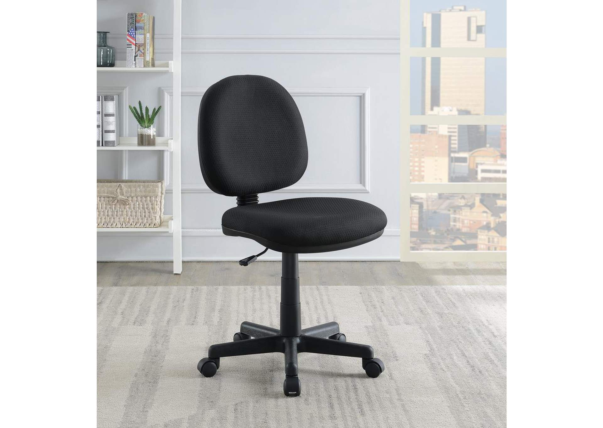 Black Office Chair w/Wheels,Coaster Furniture