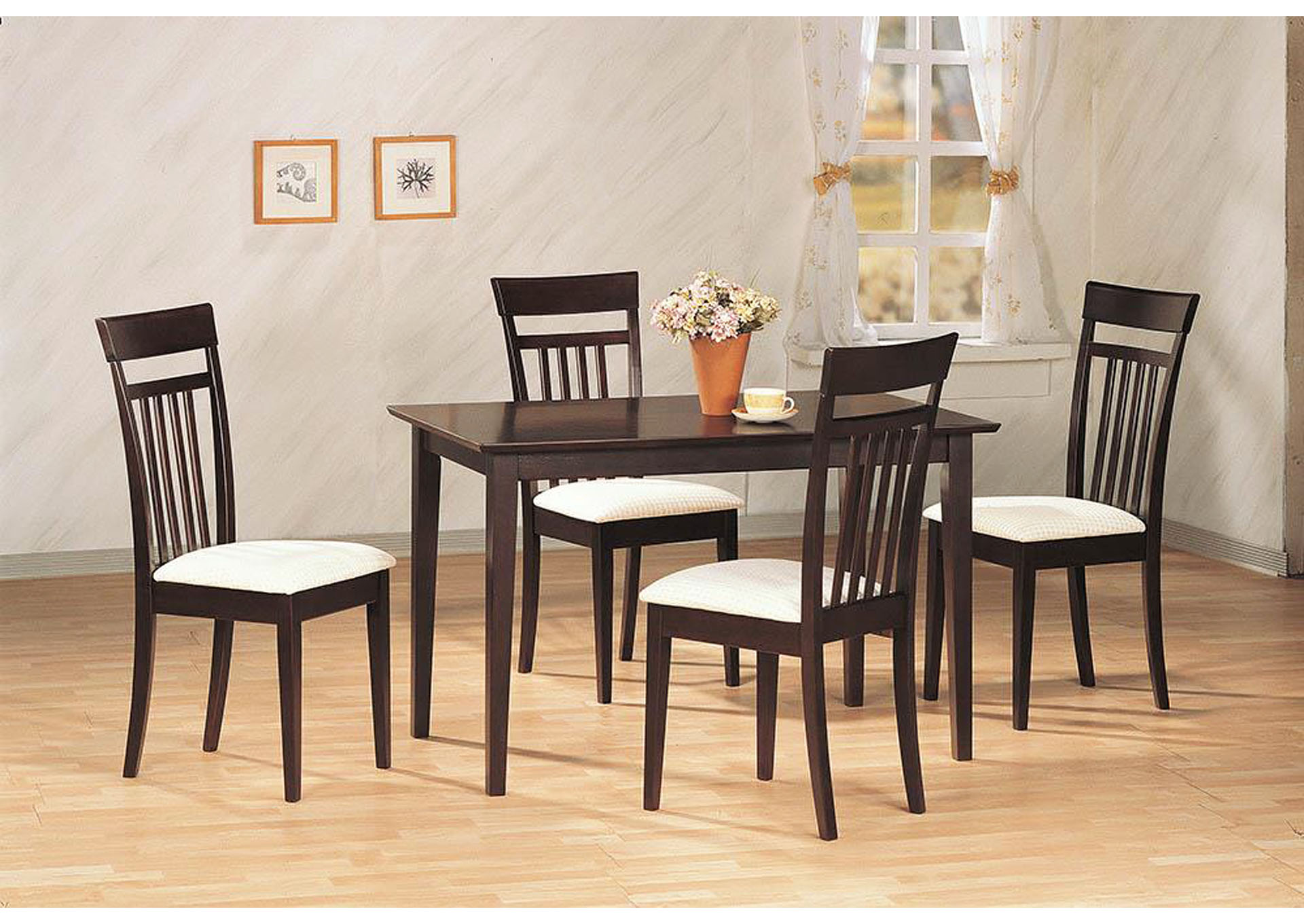 White & Cappuccino 5 Pc Dining Set,Coaster Furniture