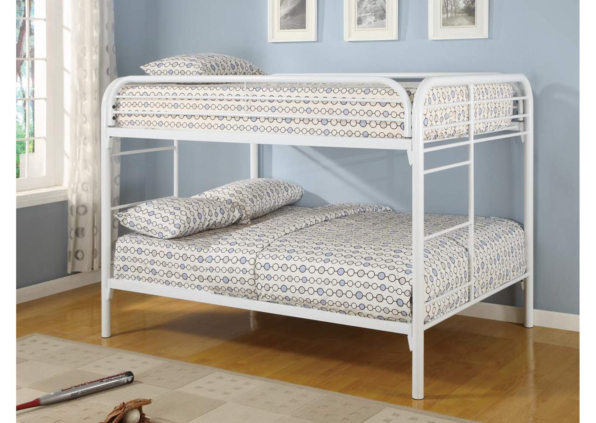 White Full/Full Bunk Bed,Coaster Furniture