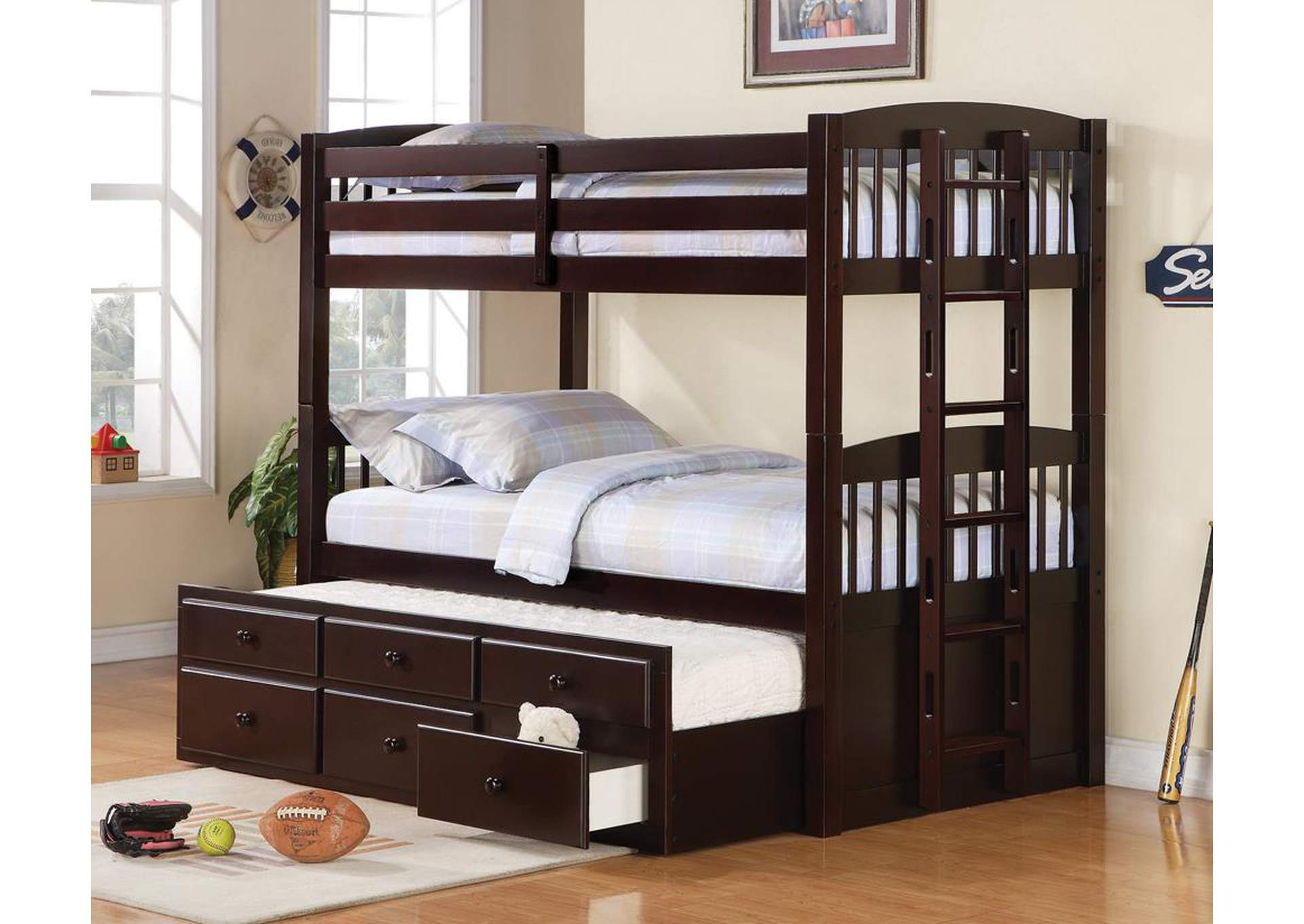 Logan Cappuccino Twin/Twin Bunk Bed (No Underbed Storage),Coaster Furniture