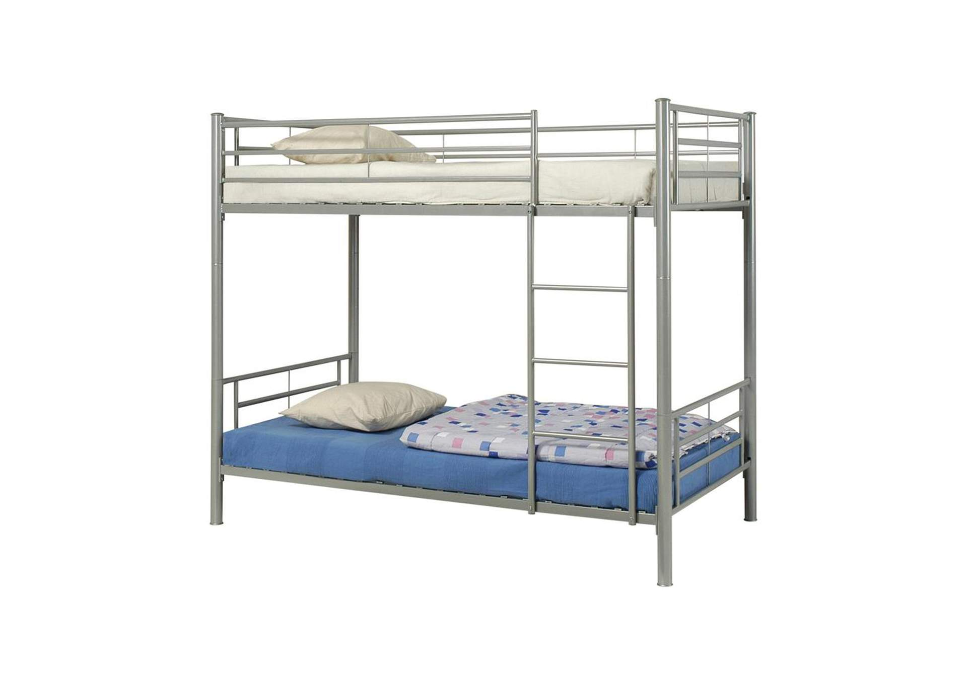 Satin Linen Denley Metal Twin-over-Twin Bunk Bed,Coaster Furniture