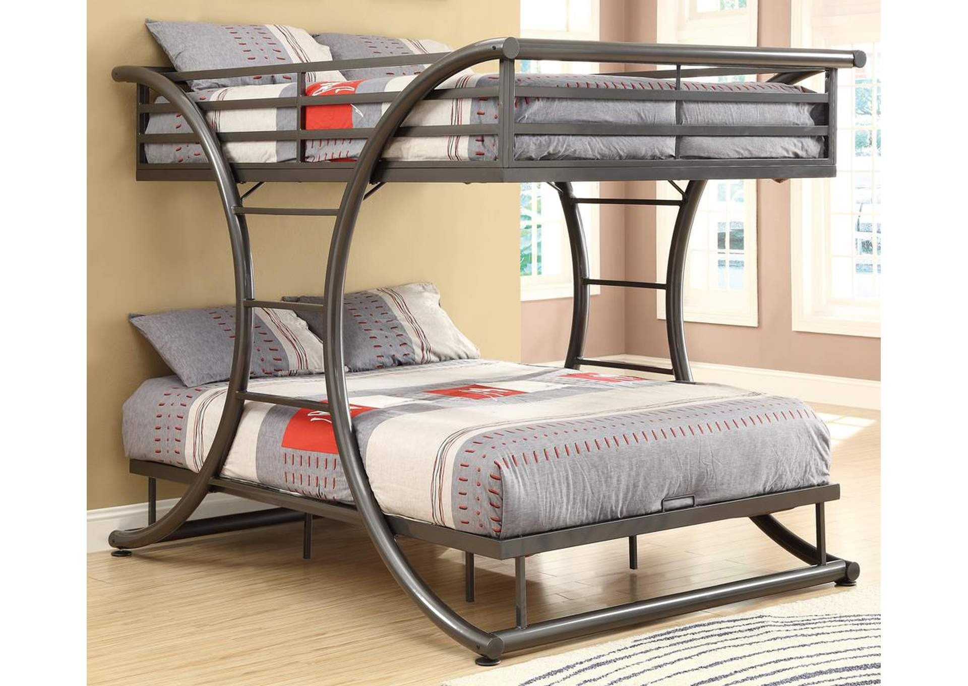 Gunmetal Full/Full Bunk Bed,Coaster Furniture