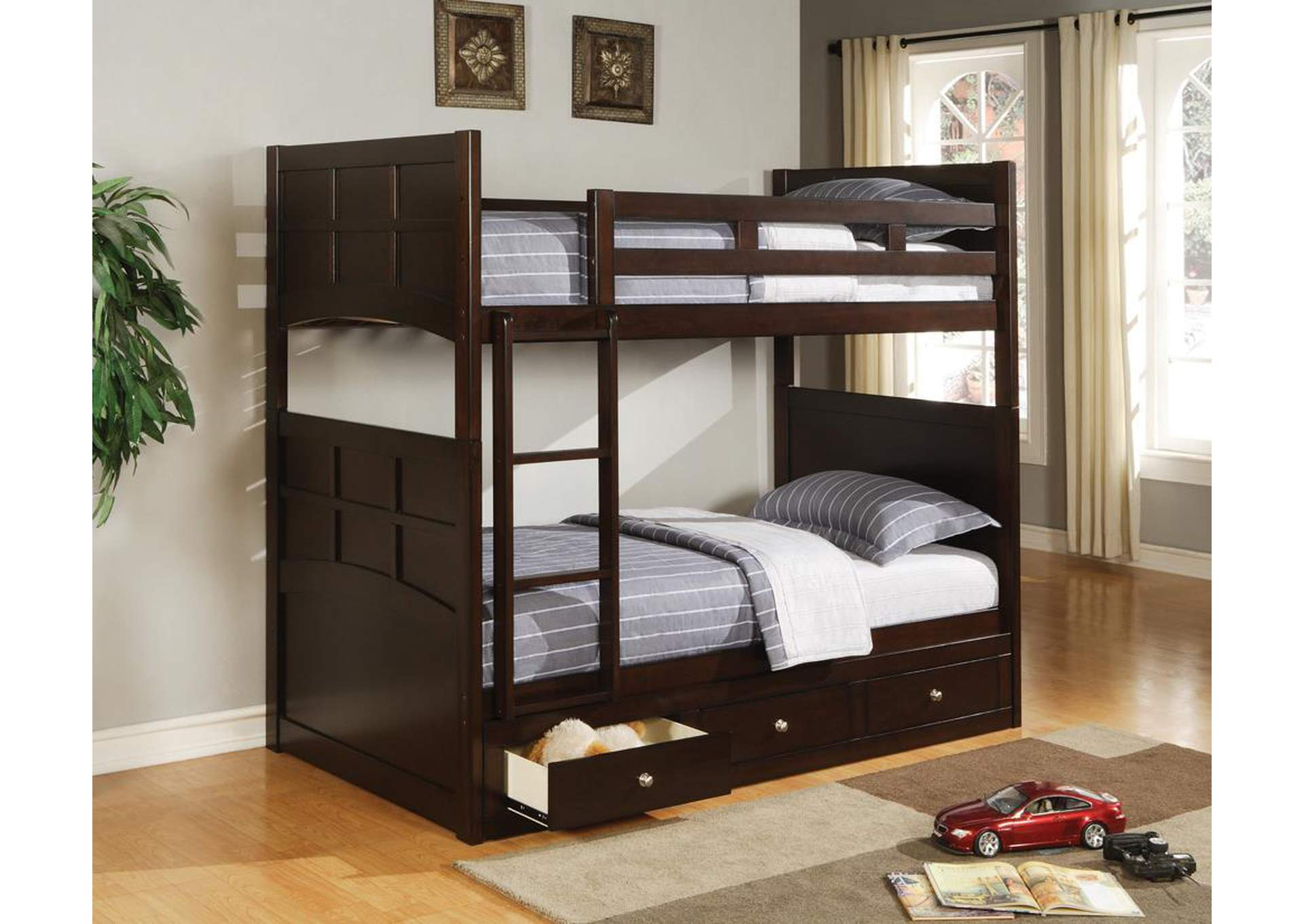 Jasper Cappuccino Twin Bunk Bed,Coaster Furniture