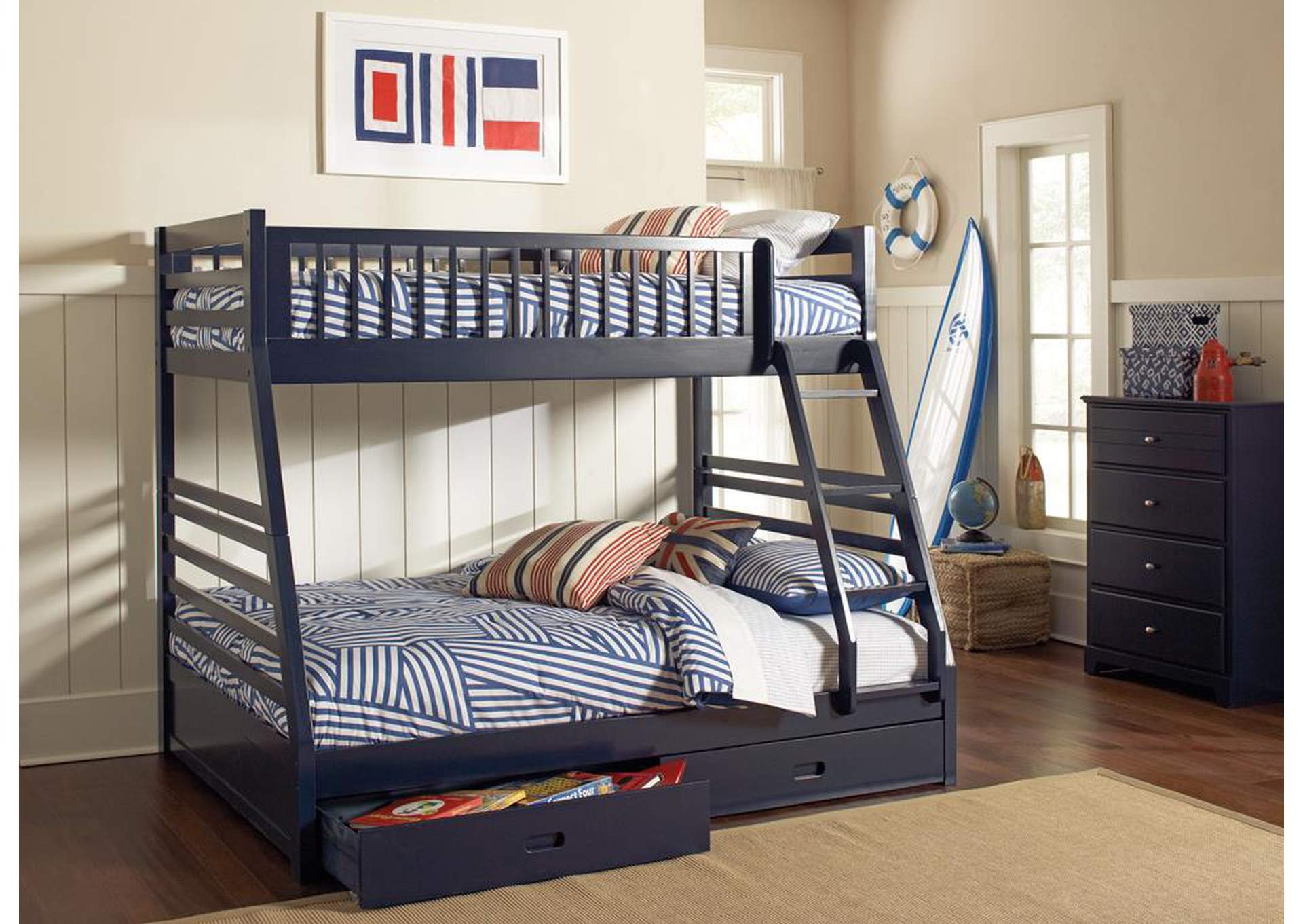 Navy Blue Full/Twin Bunk Bed,Coaster Furniture