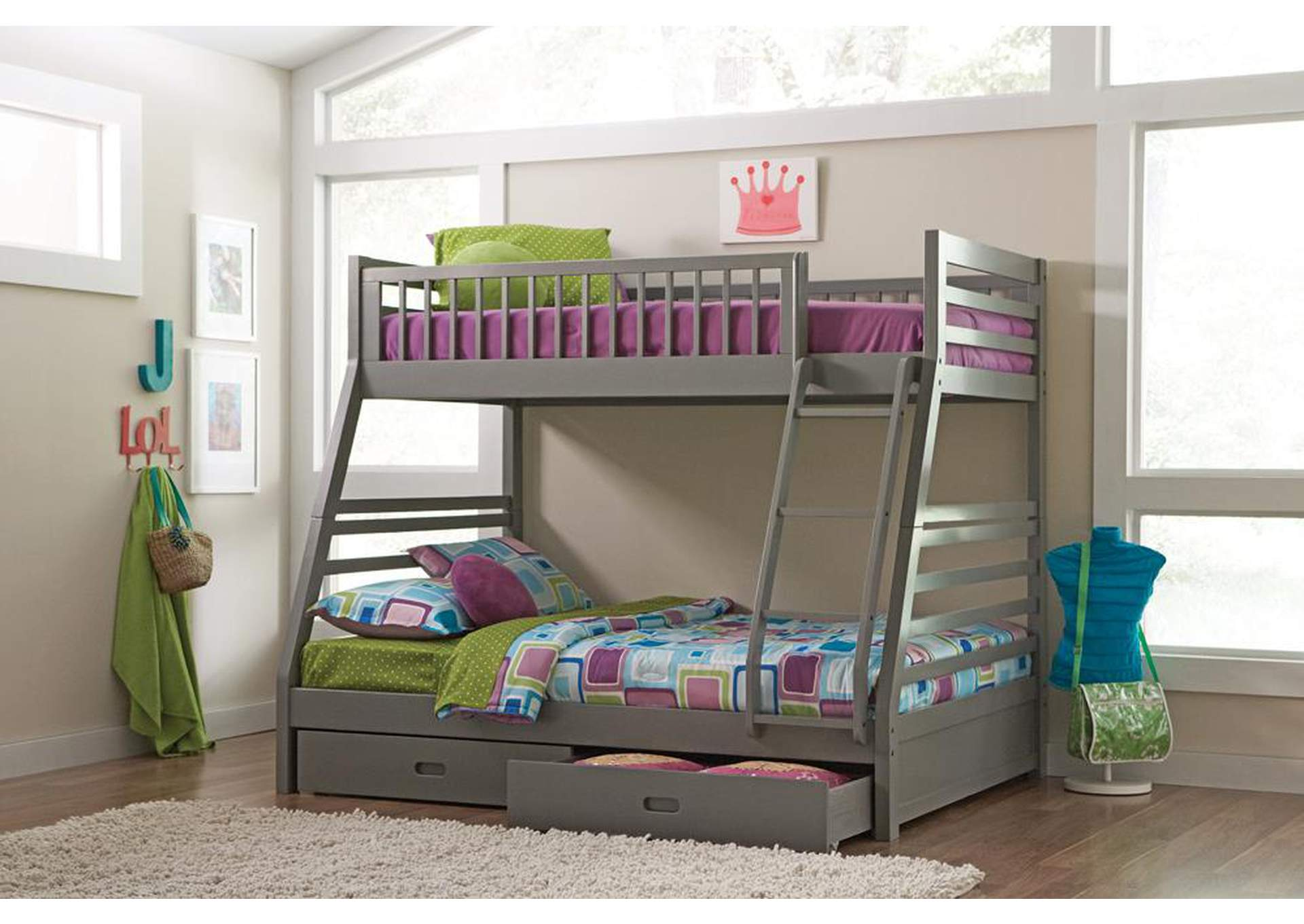 Grey Full/Twin Bunk Bed,Coaster Furniture