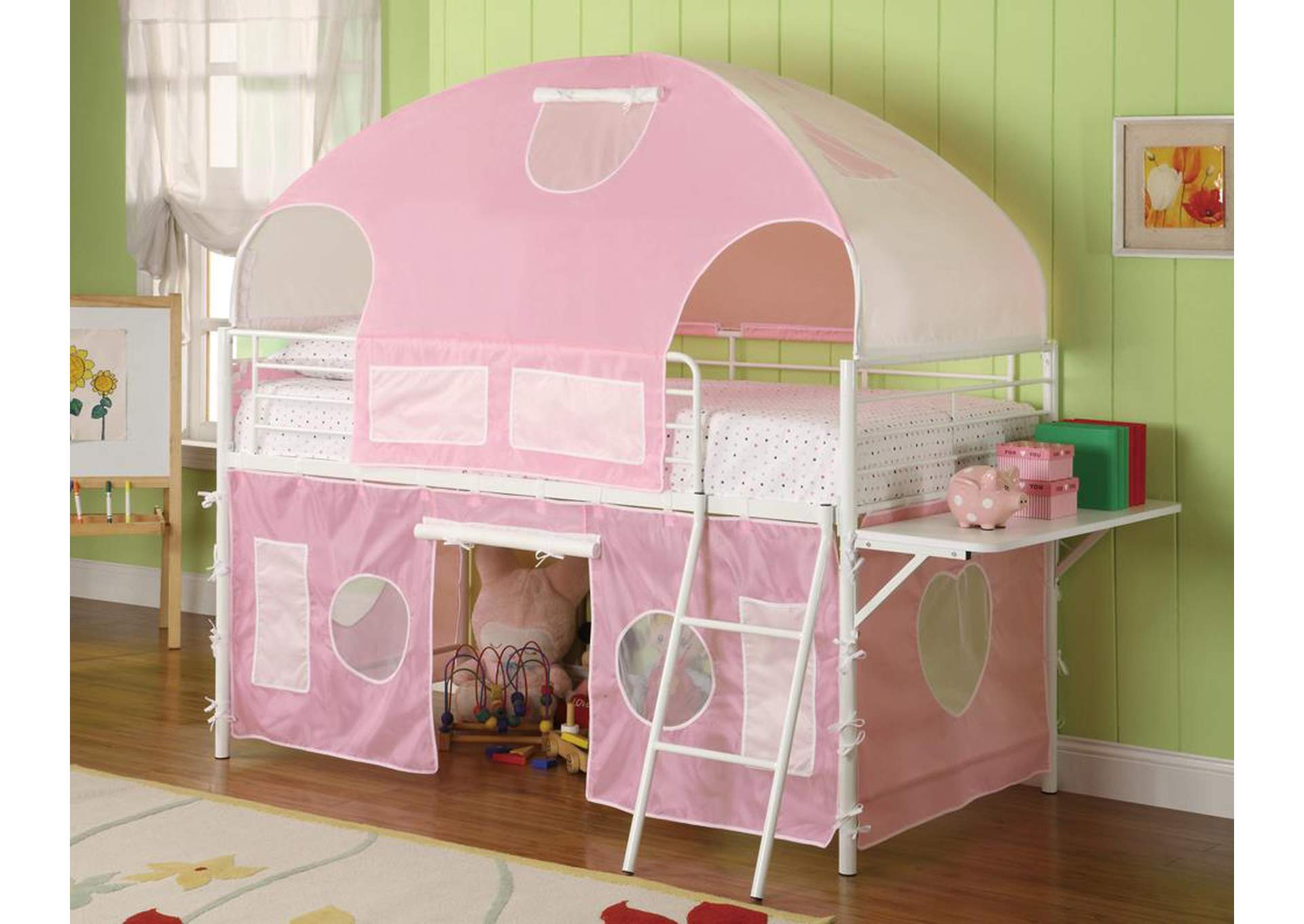 Sweetheart Pink/White Twin Tent Bunk Bed,Coaster Furniture