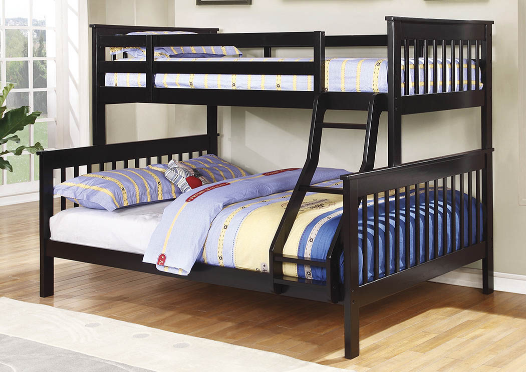 Brothers Fine Furniture Black Twin Full Bunk Bed