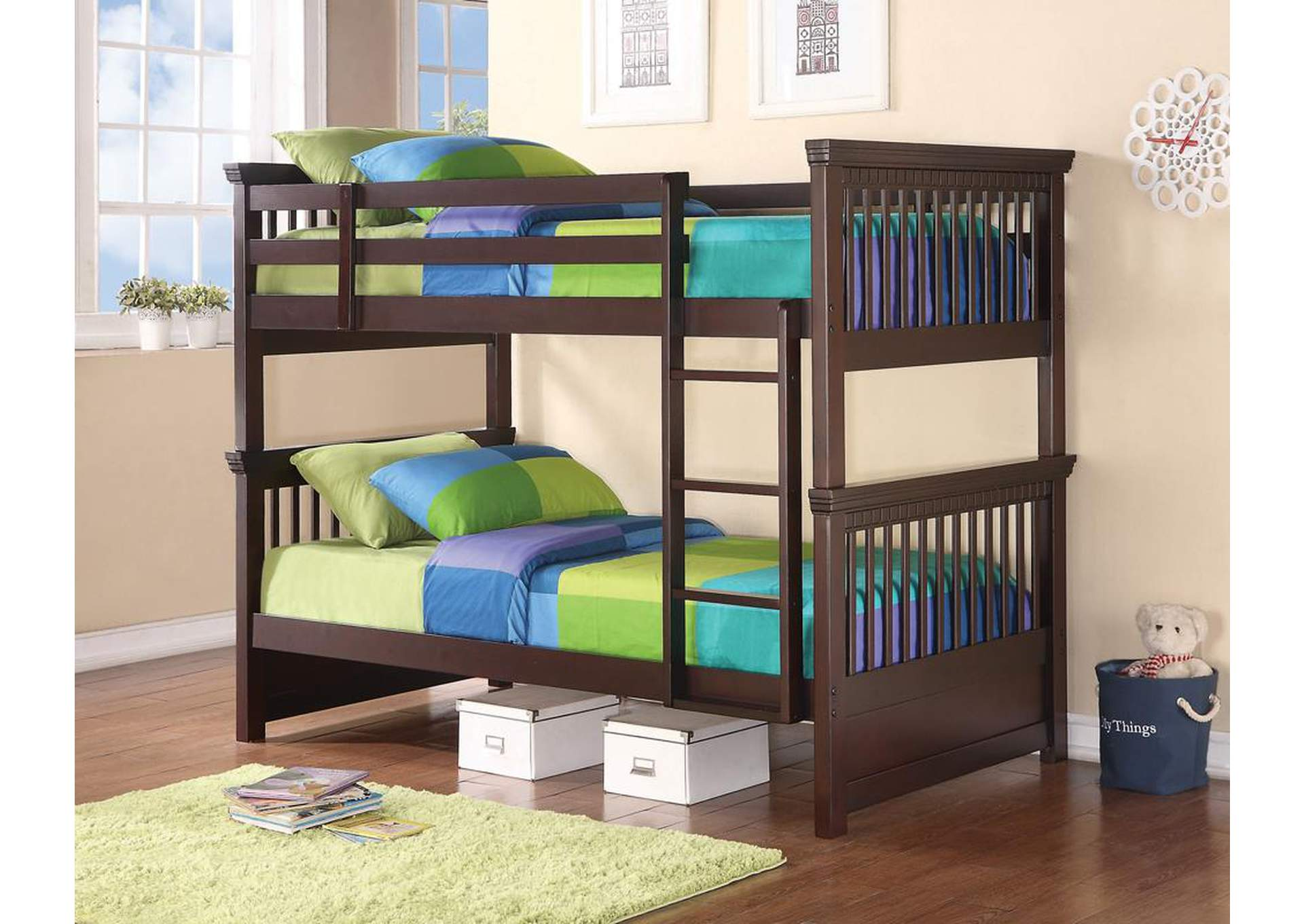Miles Cappuccino Twin/Twin Bunk Bed,Coaster Furniture