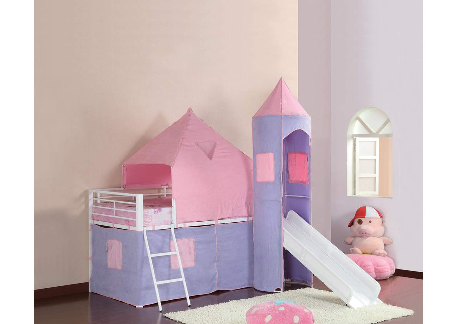 Pink/ Purple & White Girl Tent Bed,Coaster Furniture