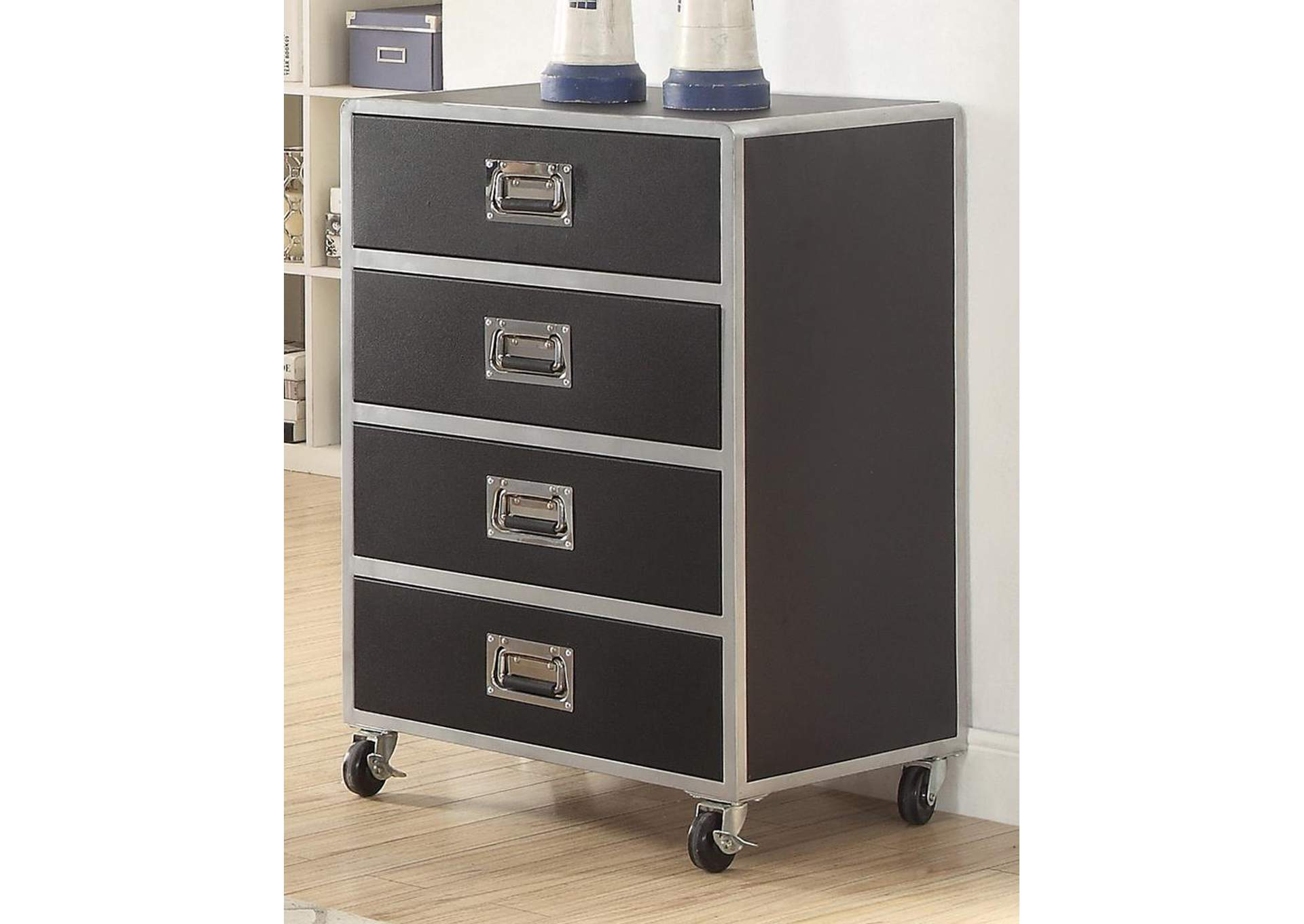Leclair Black/Silver Four Drawer Chest,Coaster Furniture