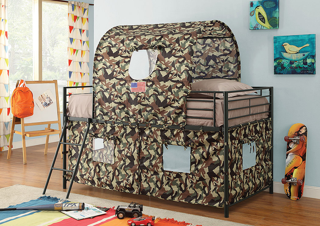 Glossy Green Camouflage Tent Twin Bunk Bed ,Coaster Furniture