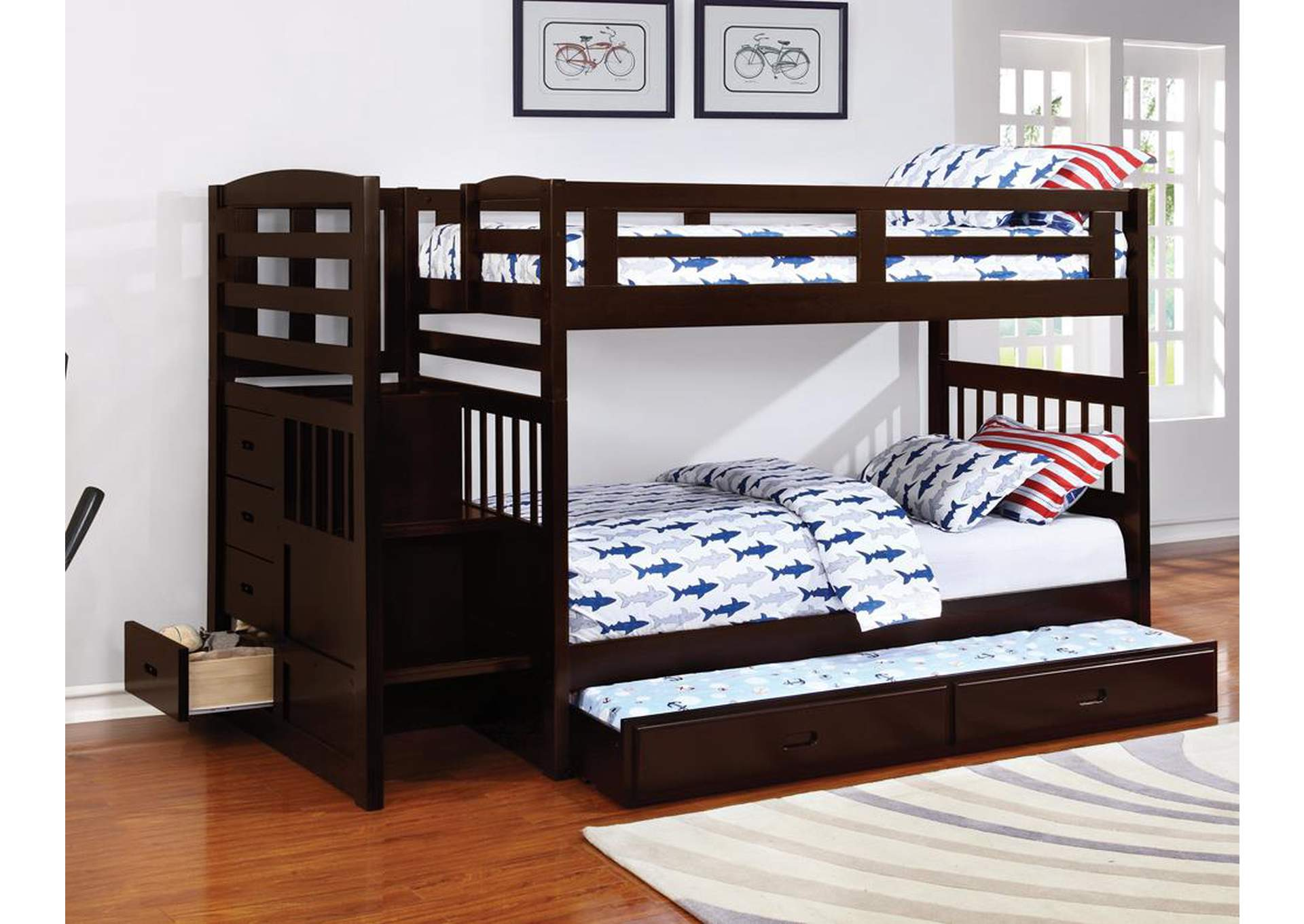 Bunk Bed w/Trundle,Coaster Furniture