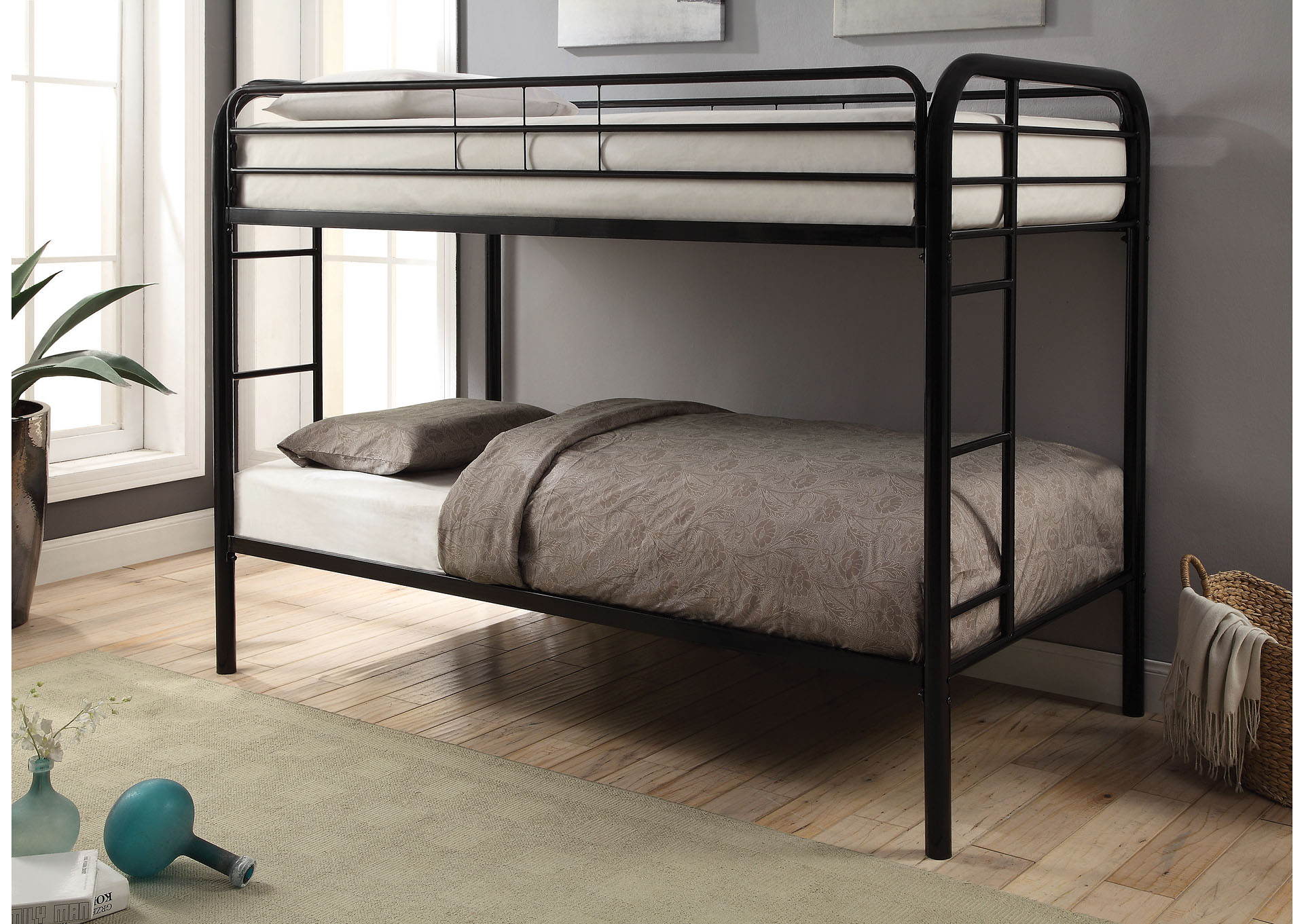 Bon Black Twin/Twin Bunk Bed,Coaster Furniture