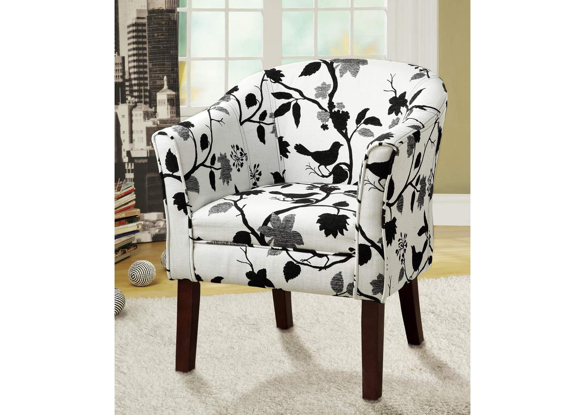 Cappuccino Playful Bird and Branch Accent Chair,Coaster Furniture