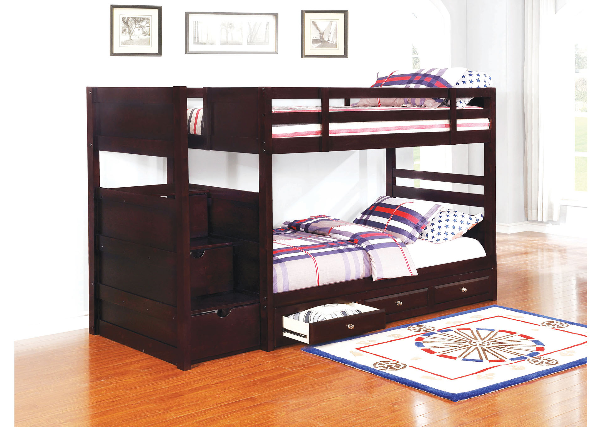 Elliott Cappuccino Twin/Twin Bunk Bed,Coaster Furniture
