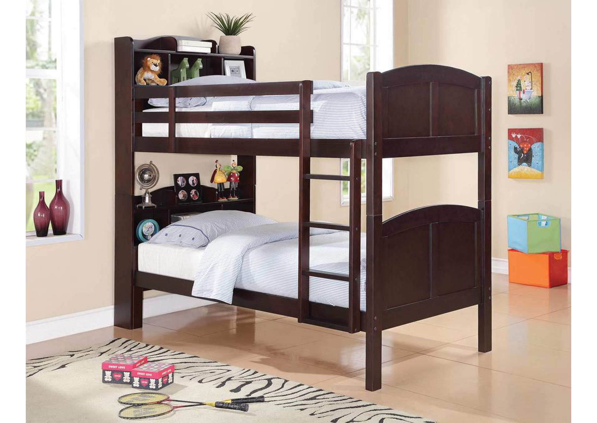 Parker Cappuccino Twin/Twin Bookcase Bunk Bed,Coaster Furniture
