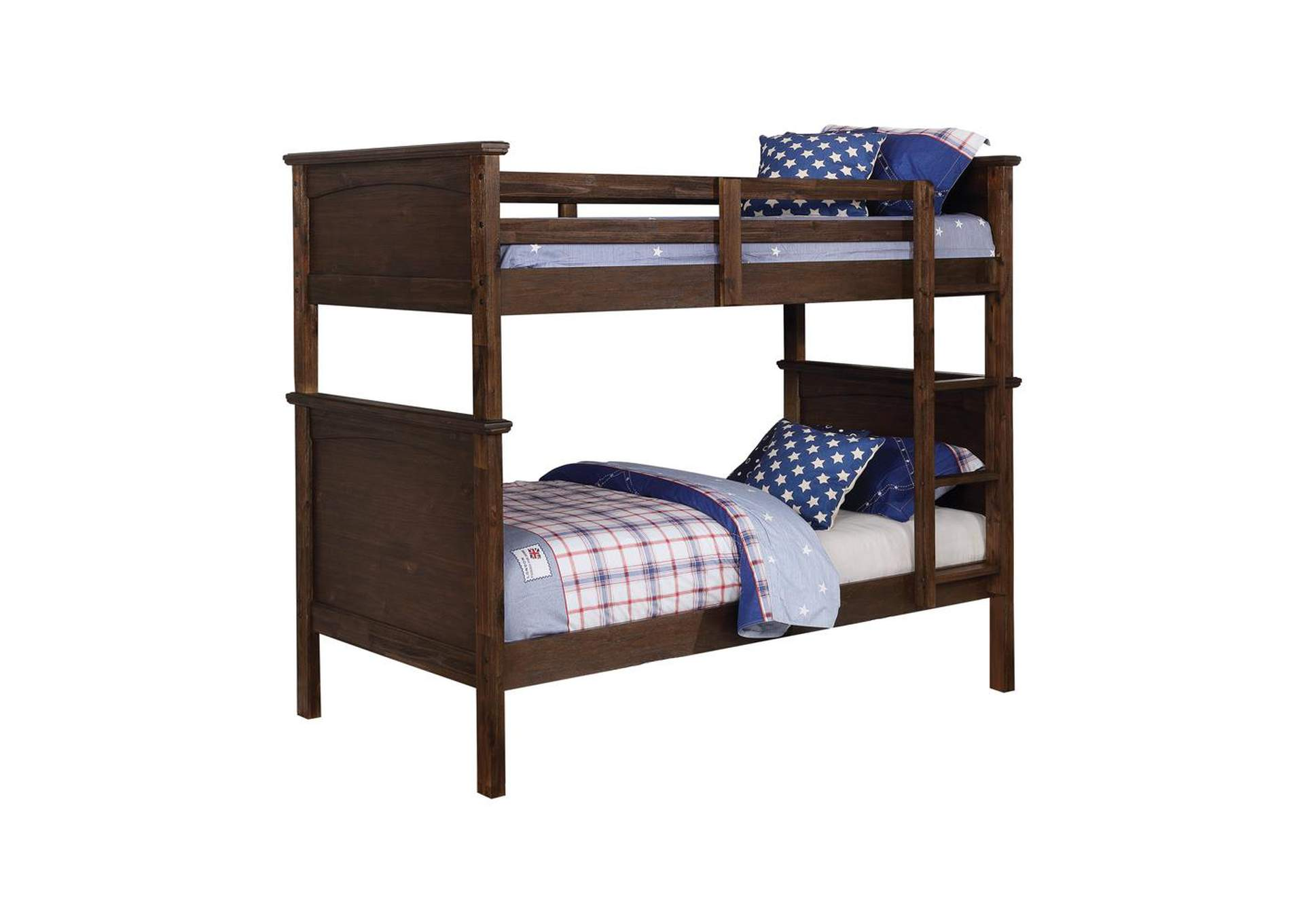 English Walnut Kinsley Rustic Country Brown Twin-over-Twin Bunk Bed,Coaster Furniture