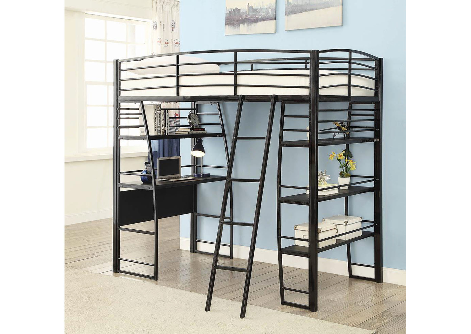 Black Twin Workstation Bed,Coaster Furniture