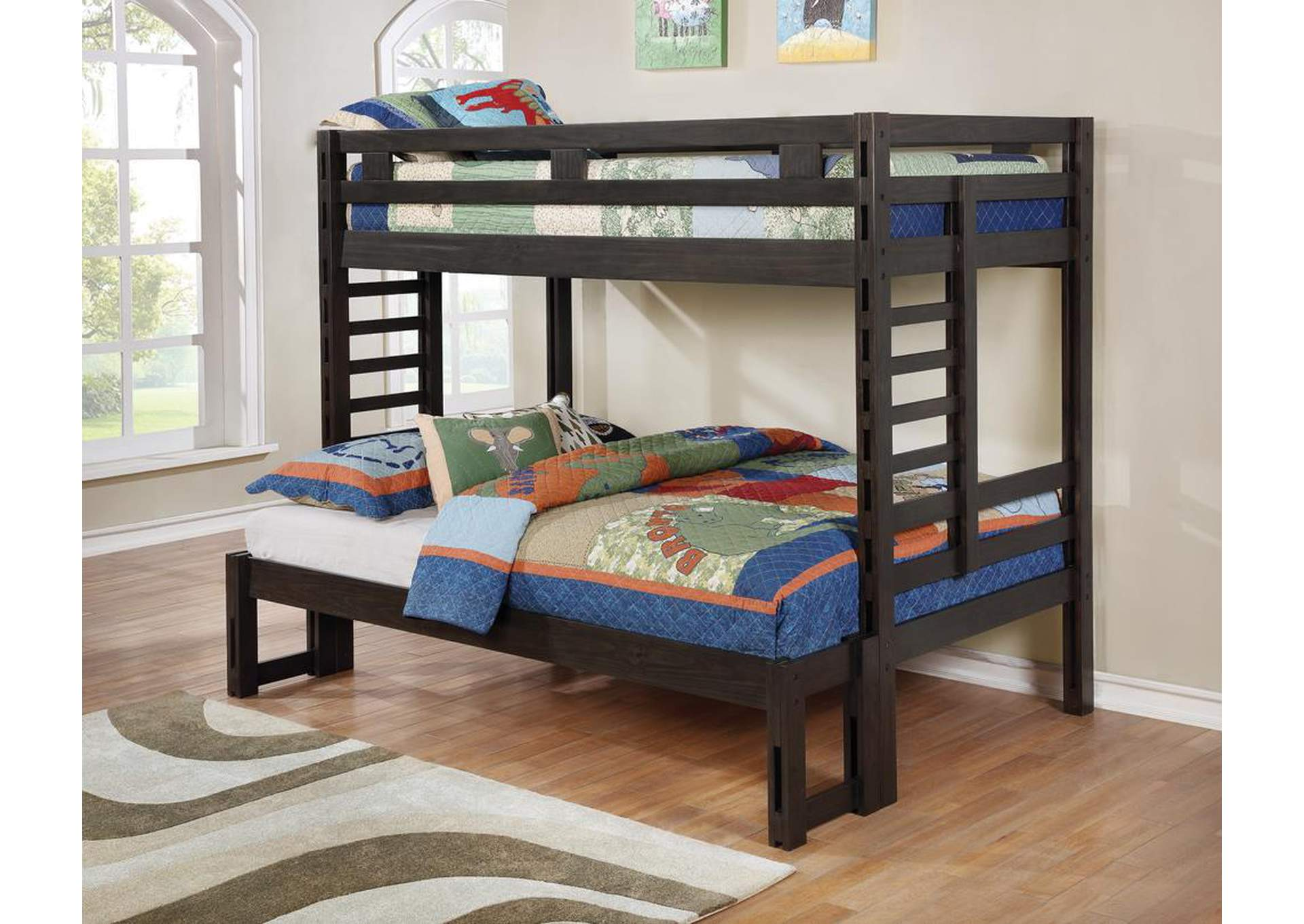 Hilshire Dark Grey Twin/Full Bunk Bed,Coaster Furniture