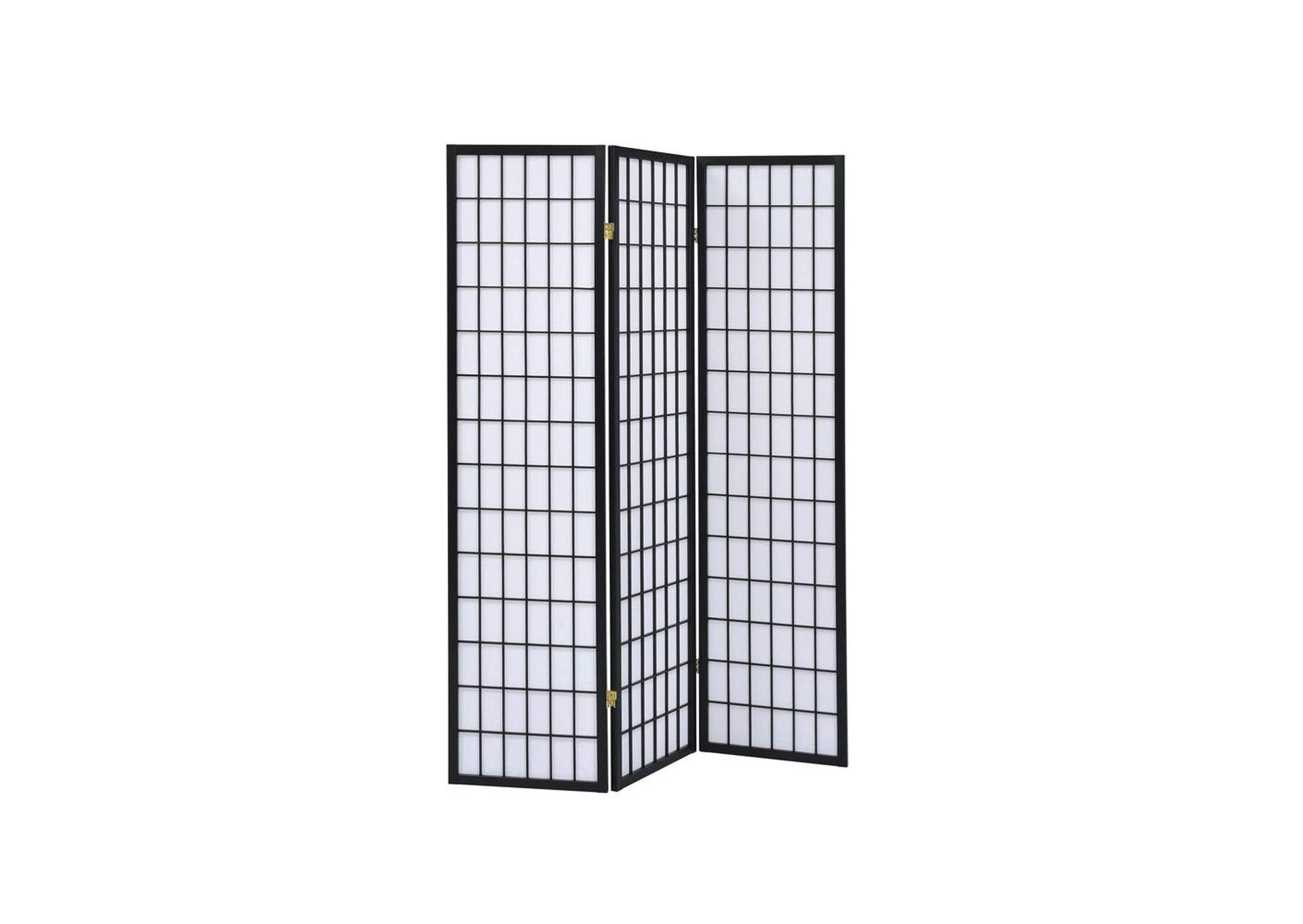 Three-Panel Black Folding Screen,Coaster Furniture