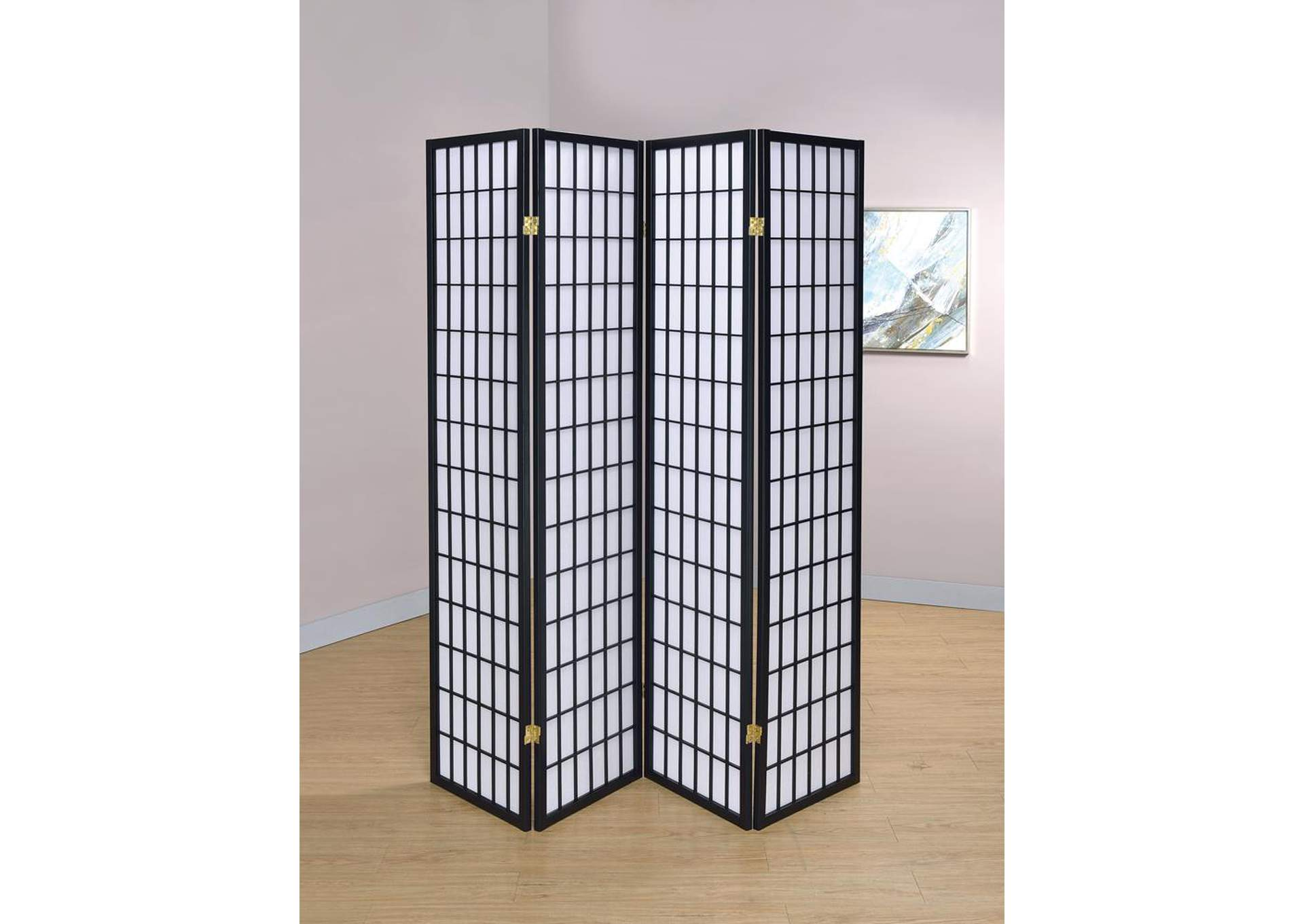 Black Four-Panel Screen,Coaster Furniture