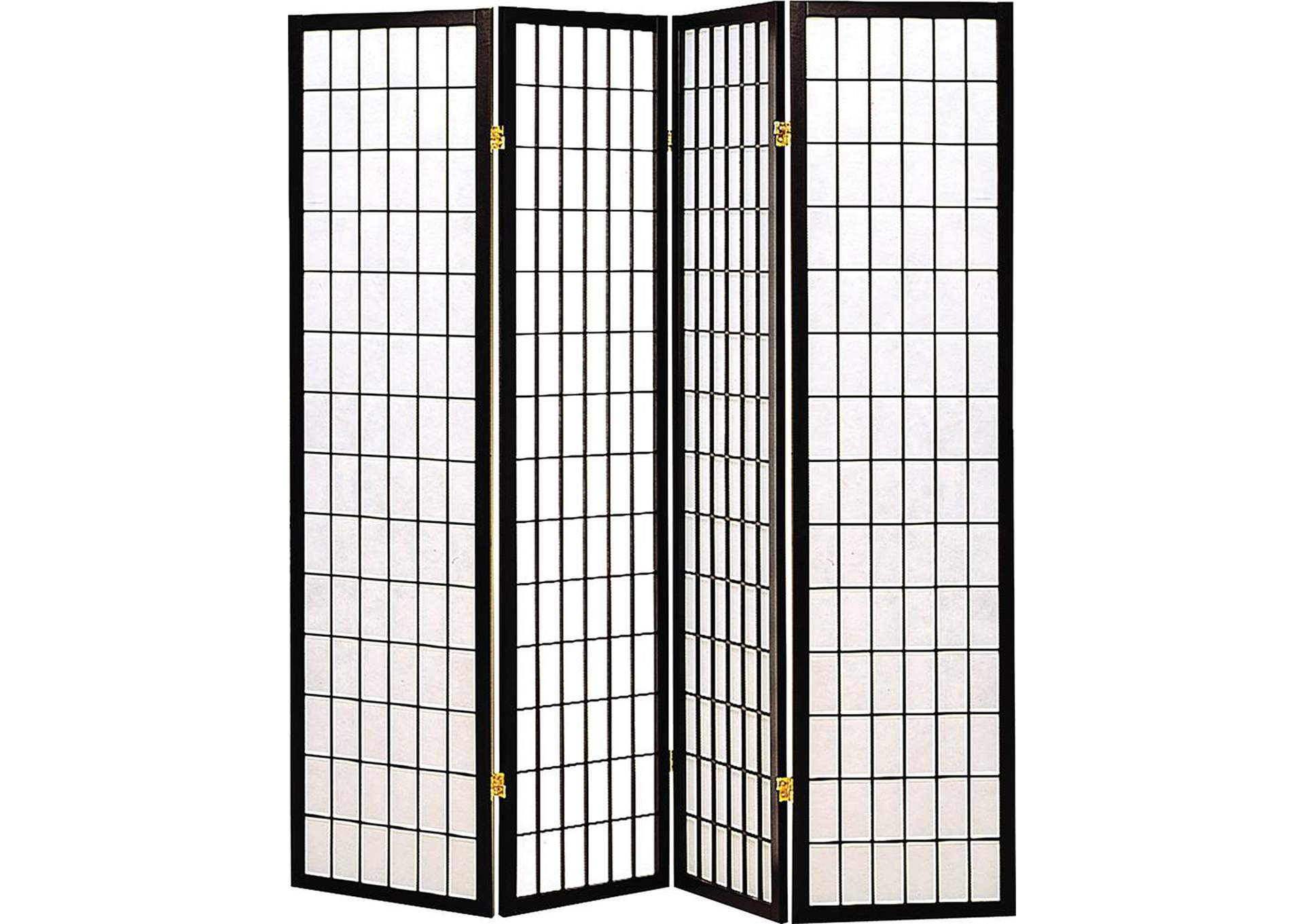 Cultured Pearl Transitional Black Four-Panel Screen,Coaster Furniture