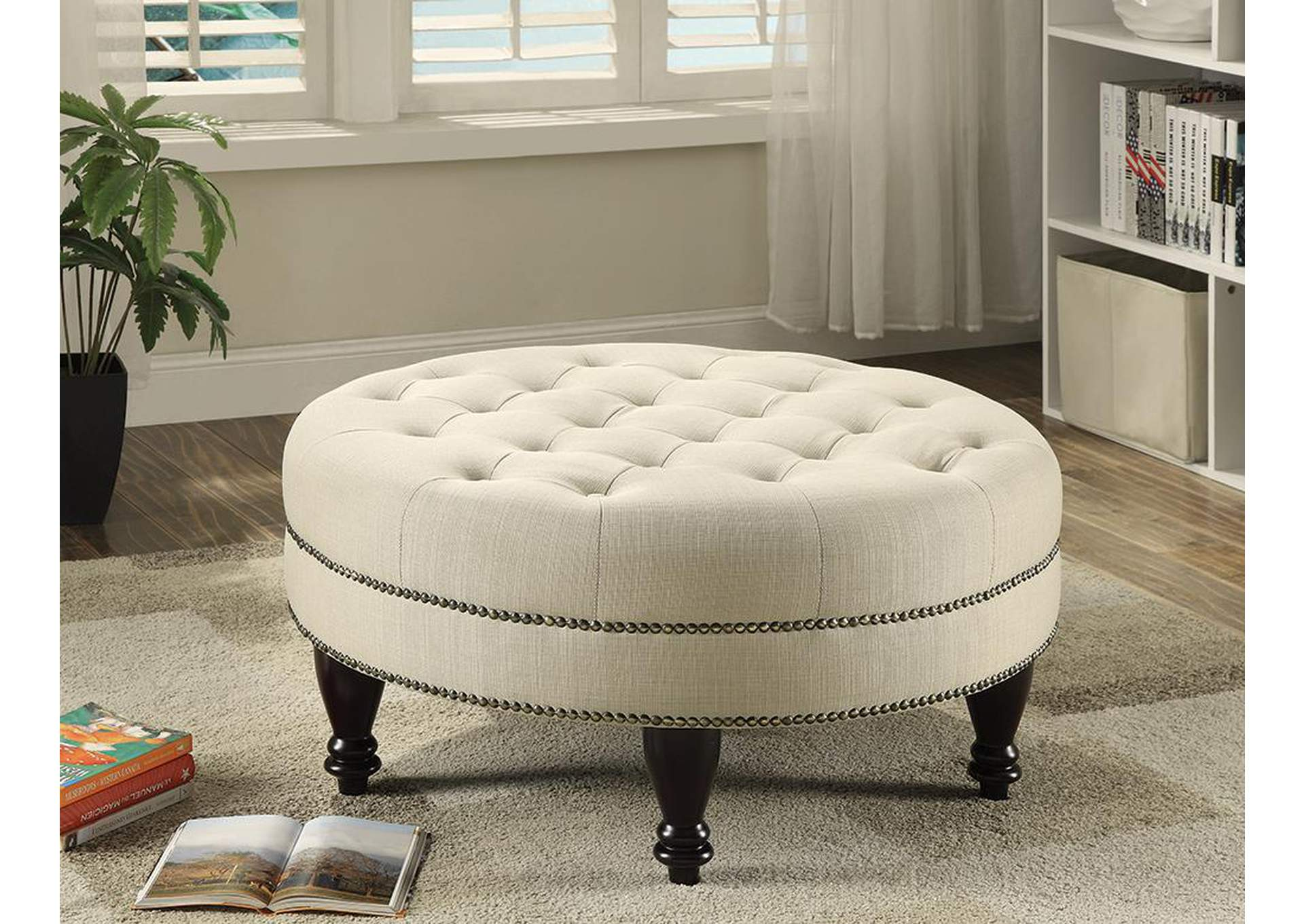Round Cocktail Ottoman,Coaster Furniture