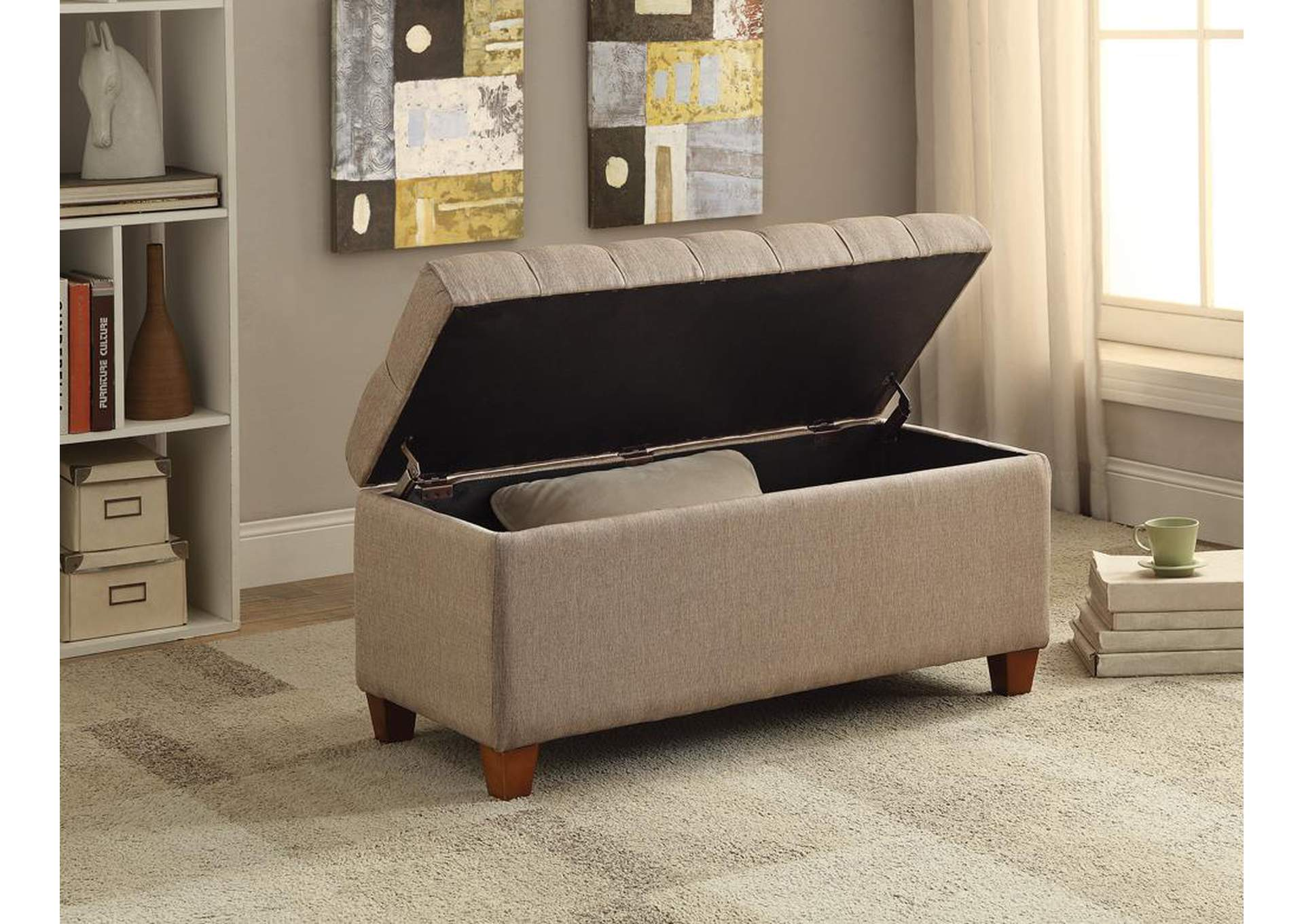 Tufted Taupe Storage Bench,Coaster Furniture