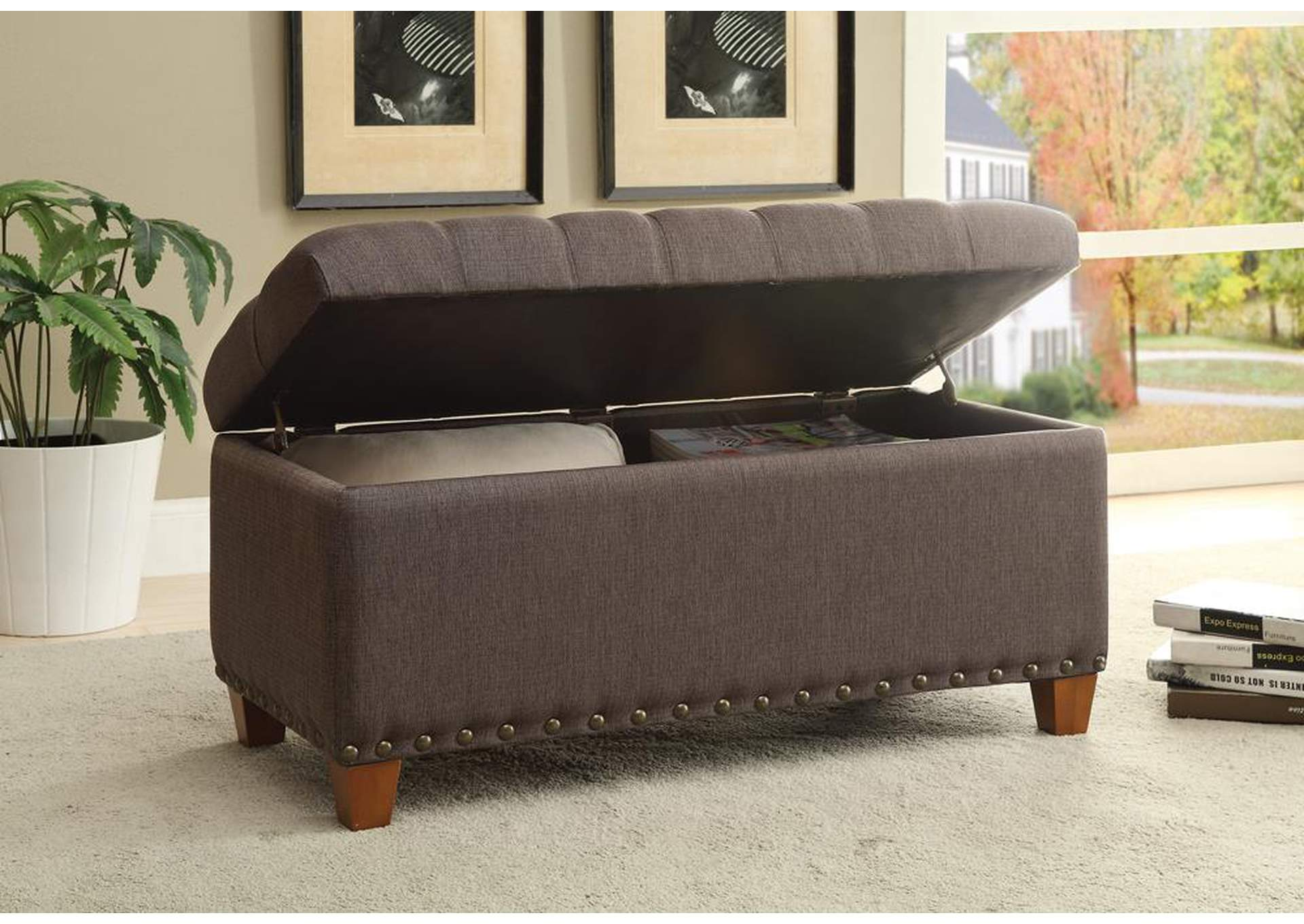 Brown Tufted Mocha Storage Dining Bench,Coaster Furniture