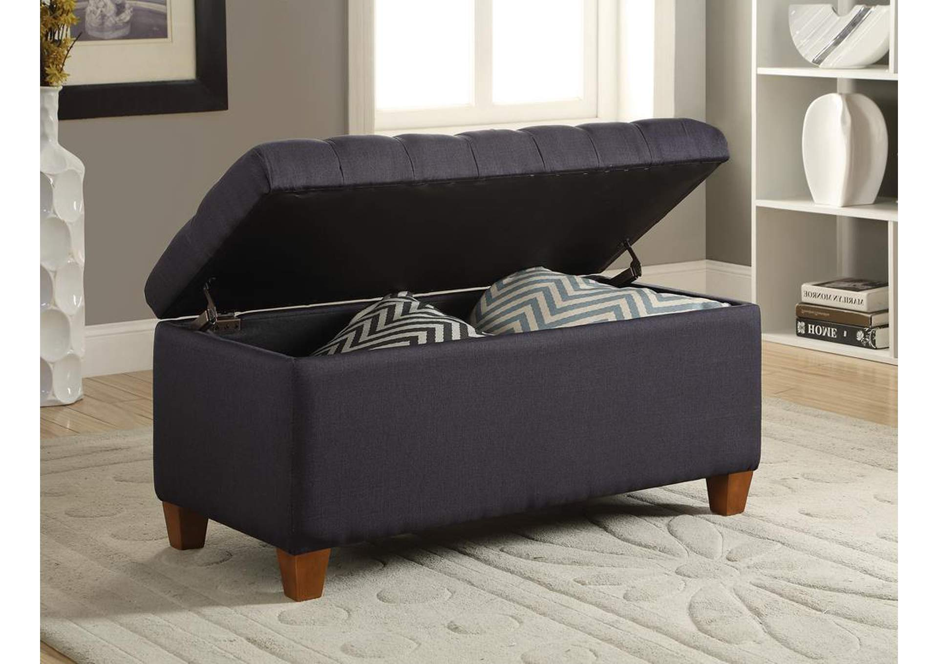 Brown Tufted Navy Storage Dining Bench,Coaster Furniture
